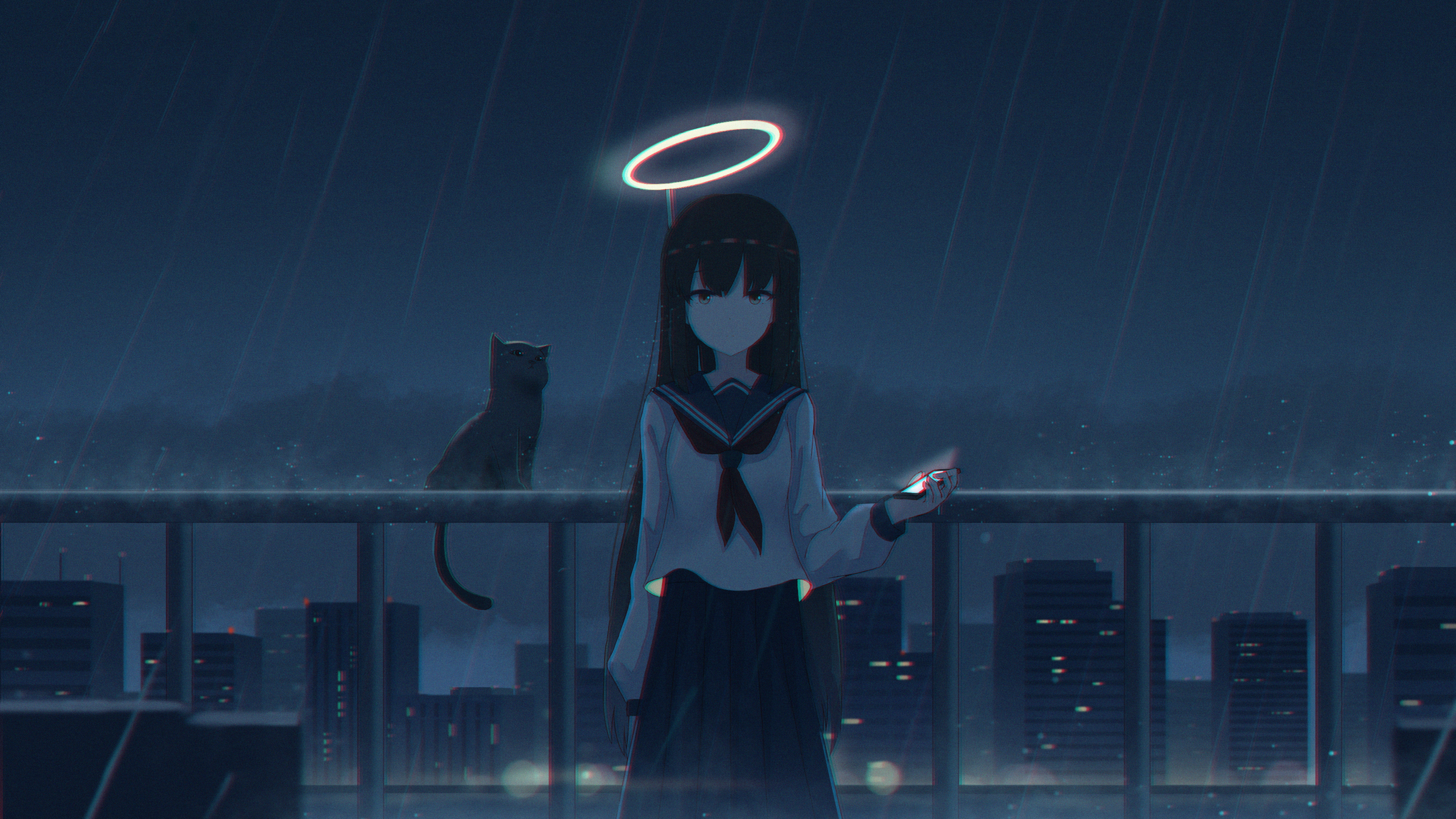 5120x2880 4k Girl In The Rain With Cat 5k Wallpaper Hd Anime 4k Wallpapers Images Photos And Background