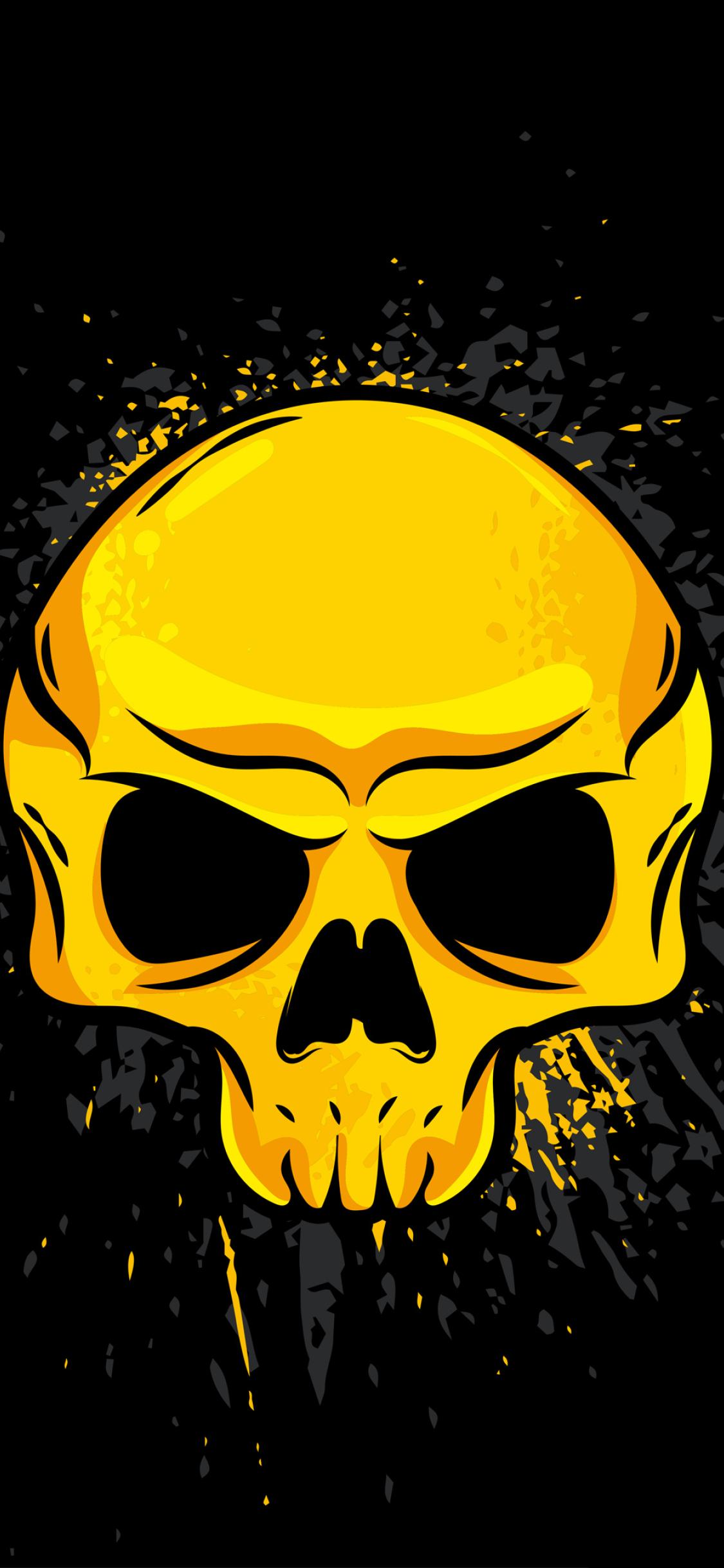 1125x2436 4K Gold Skull Iphone XS,Iphone 10,Iphone X ...