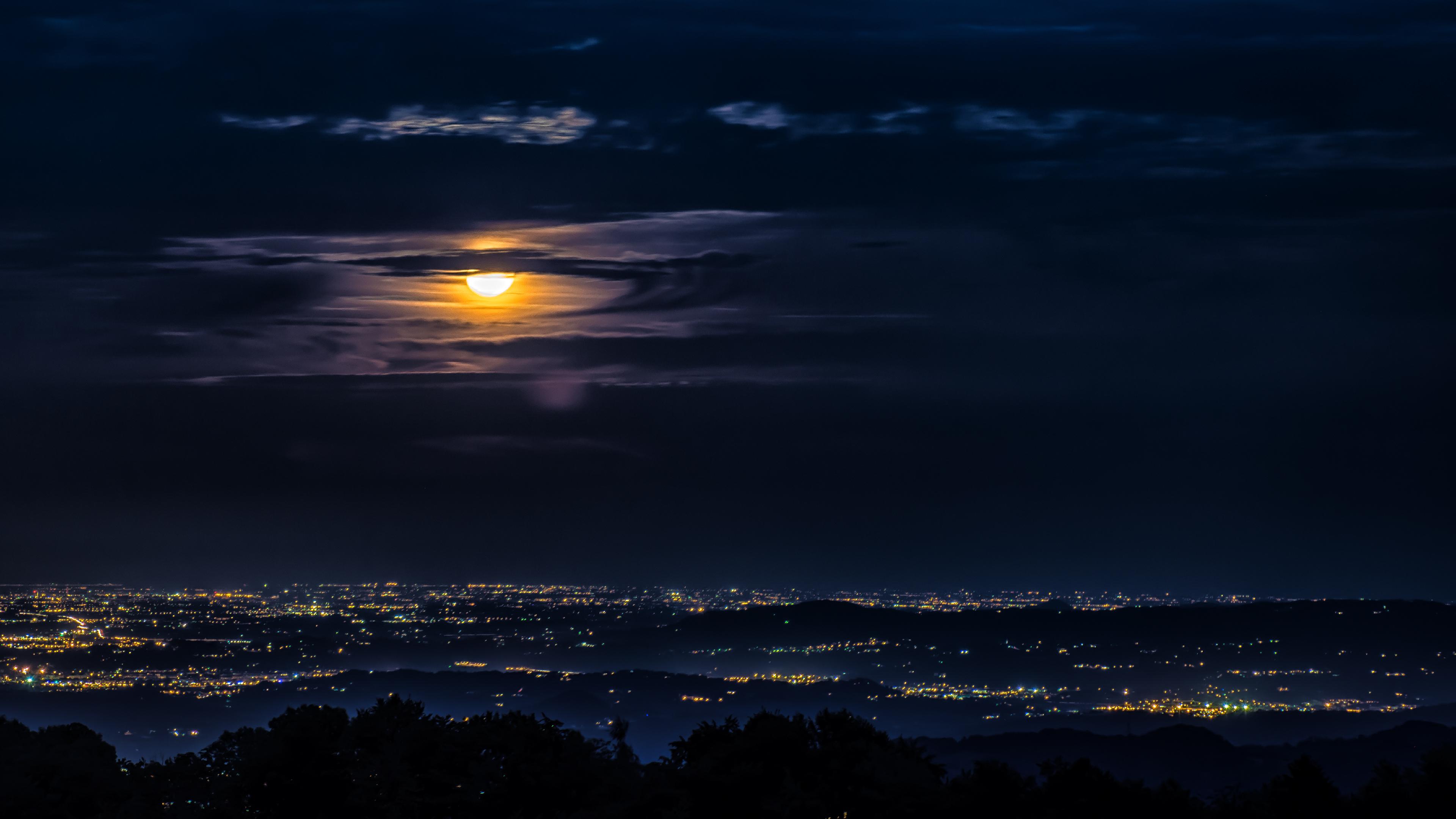 4k Moon Clouds Night City View Wallpaper Hd Nature 4k