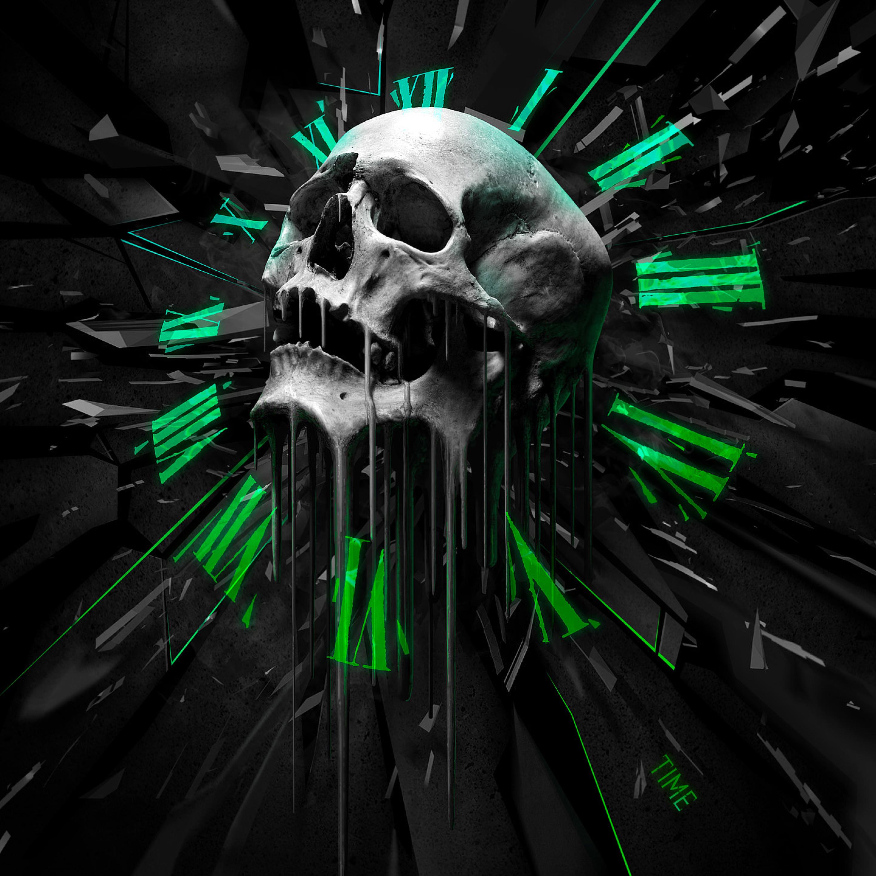 Abstract Skull Clock, Full HD 2K Wallpaper