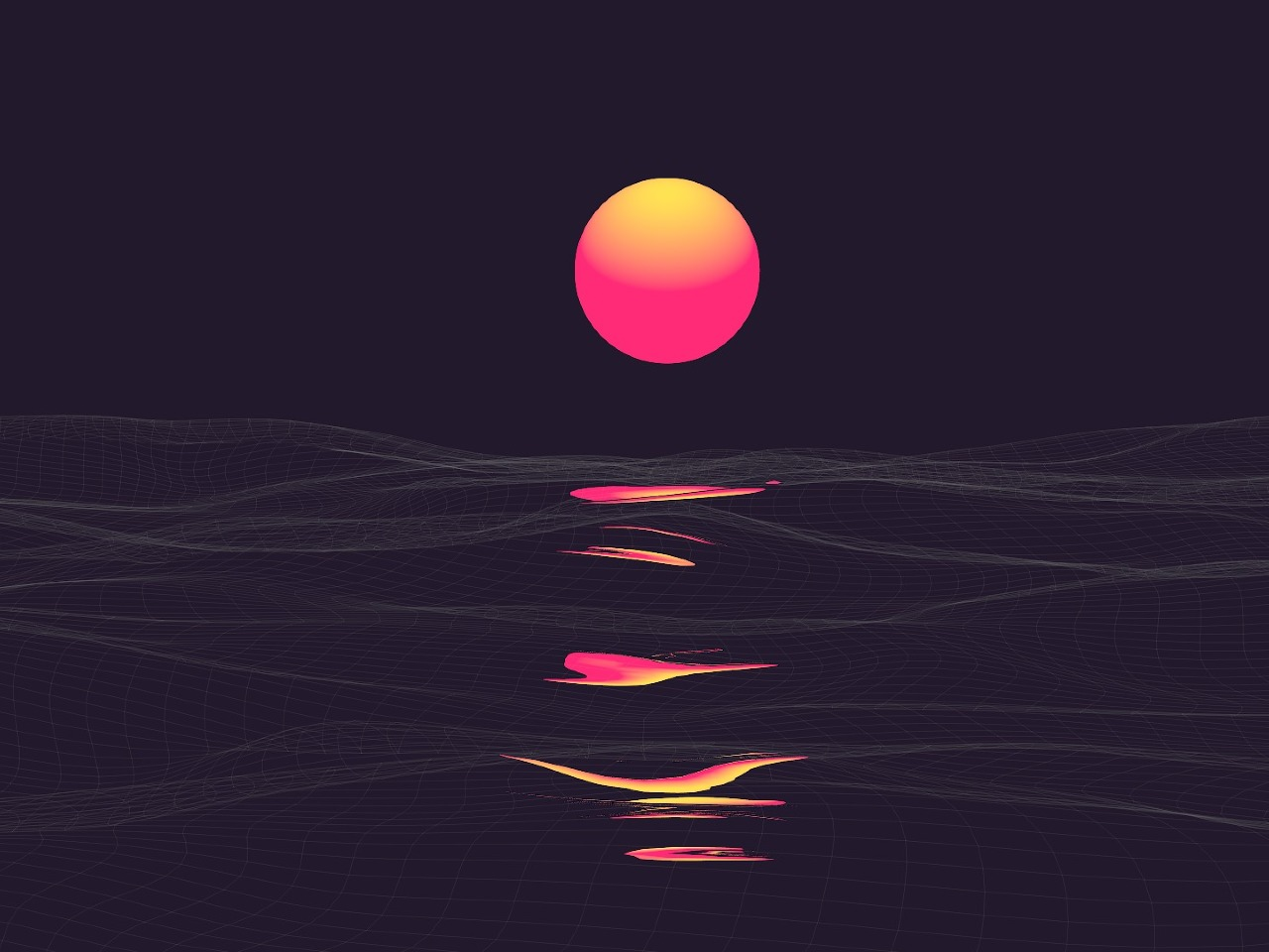 Abstract Vaporwave Retrowave Sun Reflaction, Full HD Wallpaper