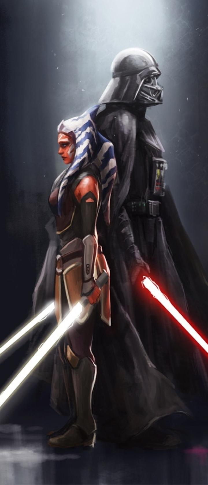 720x1680 Ahsoka Tano x Darth Vader 720x1680 Resolution ...