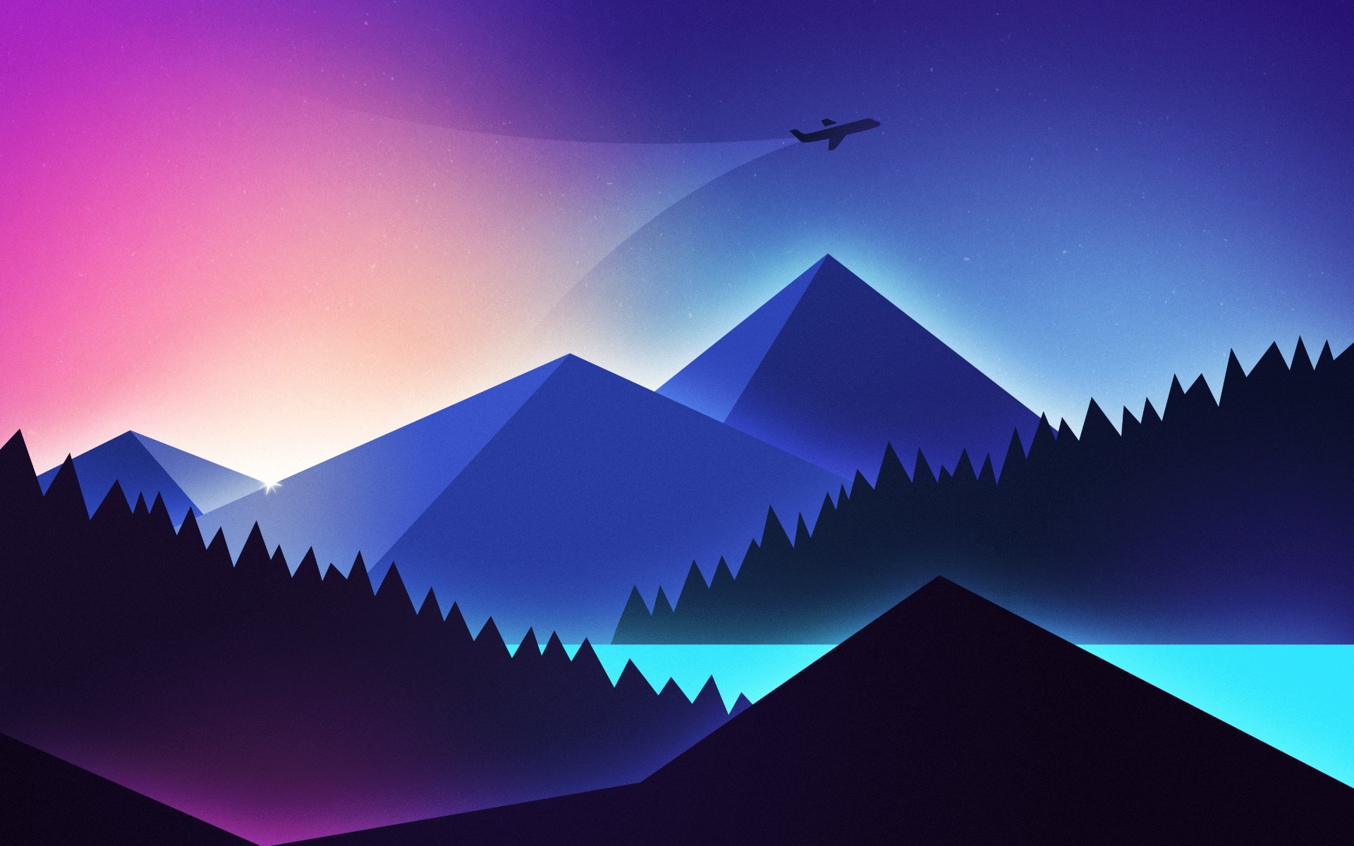 Airplane Minimal Gradient Hd 4k Wallpaper