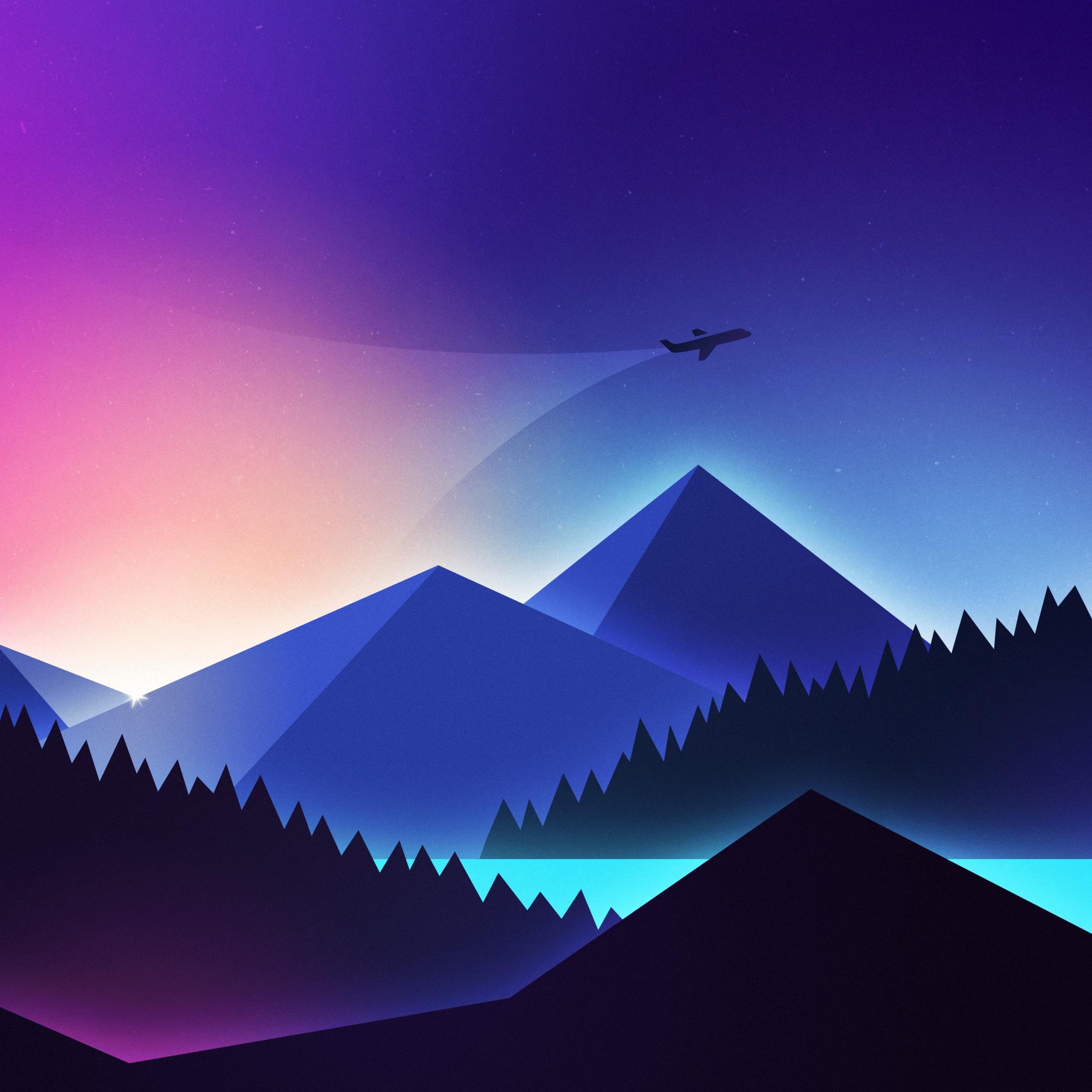 Airplane Minimal Gradient, HD 4K Wallpaper