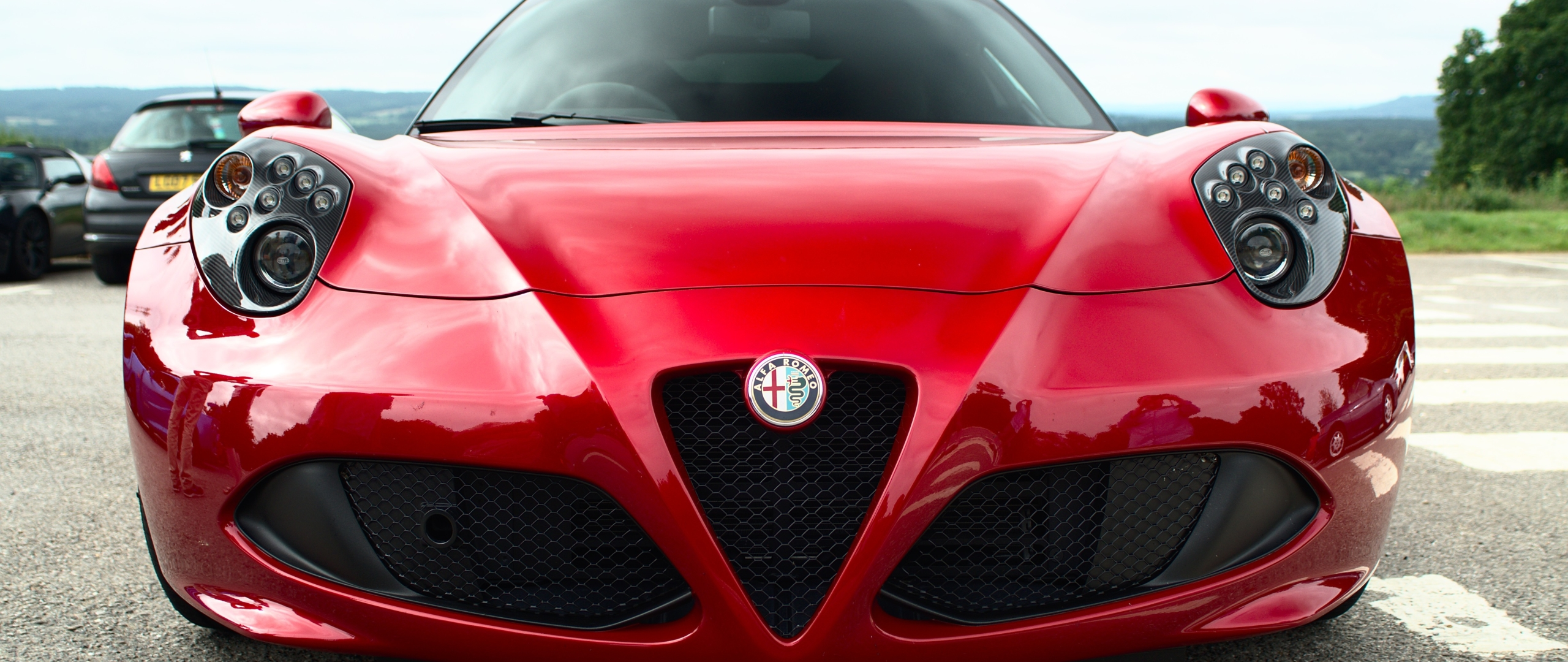 2560x1080 Alfa Romeo Red Front View 2560x1080 Resolution Wallpaper Hd Cars 4k Wallpapers Images Photos And Background