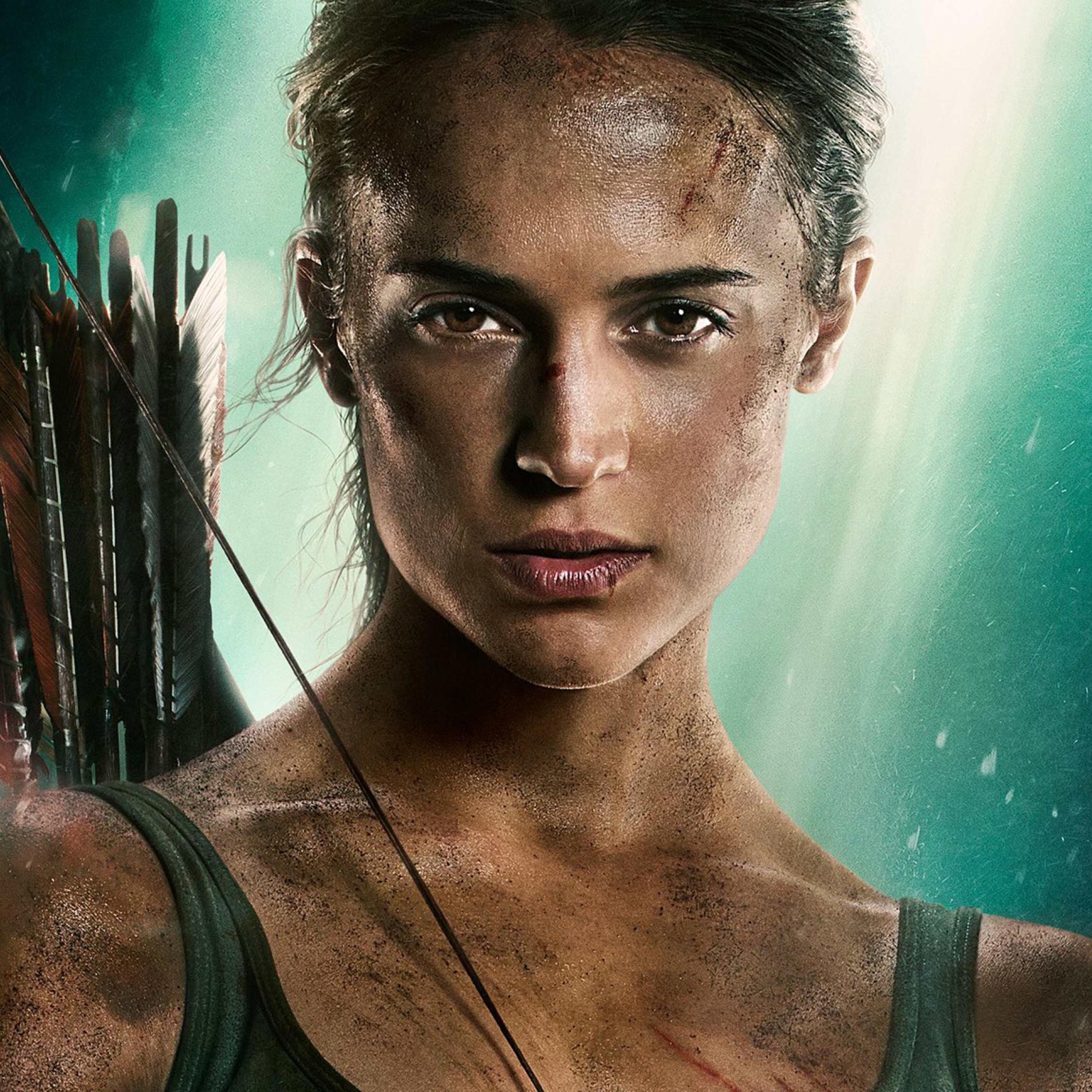 Wallpaper Tomb Raider 2018: Alicia Vikander New Tomb Raider Poster 2018, Full HD Wallpaper