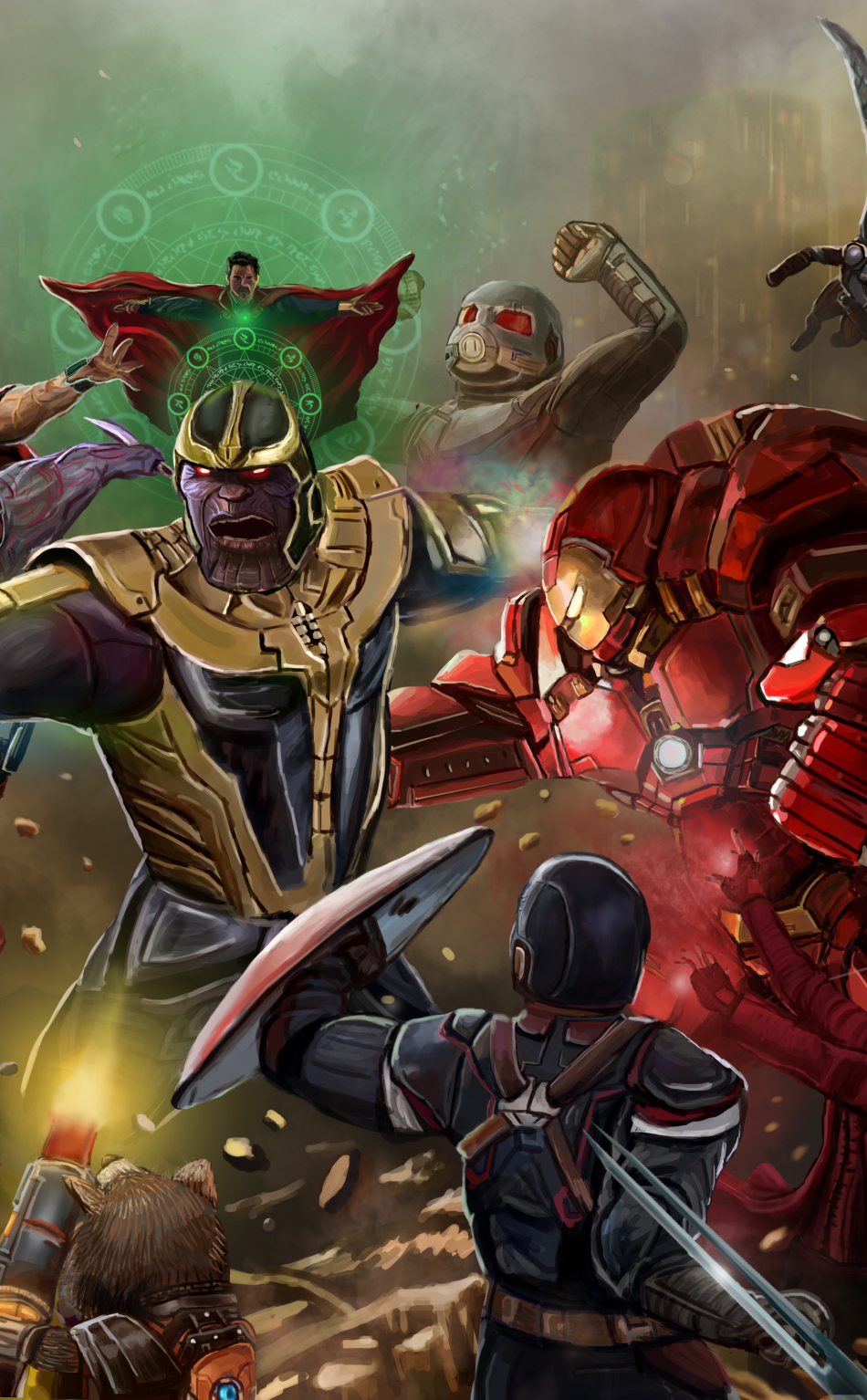 All The Avengers Fighting Thanos Avengers Infinity War