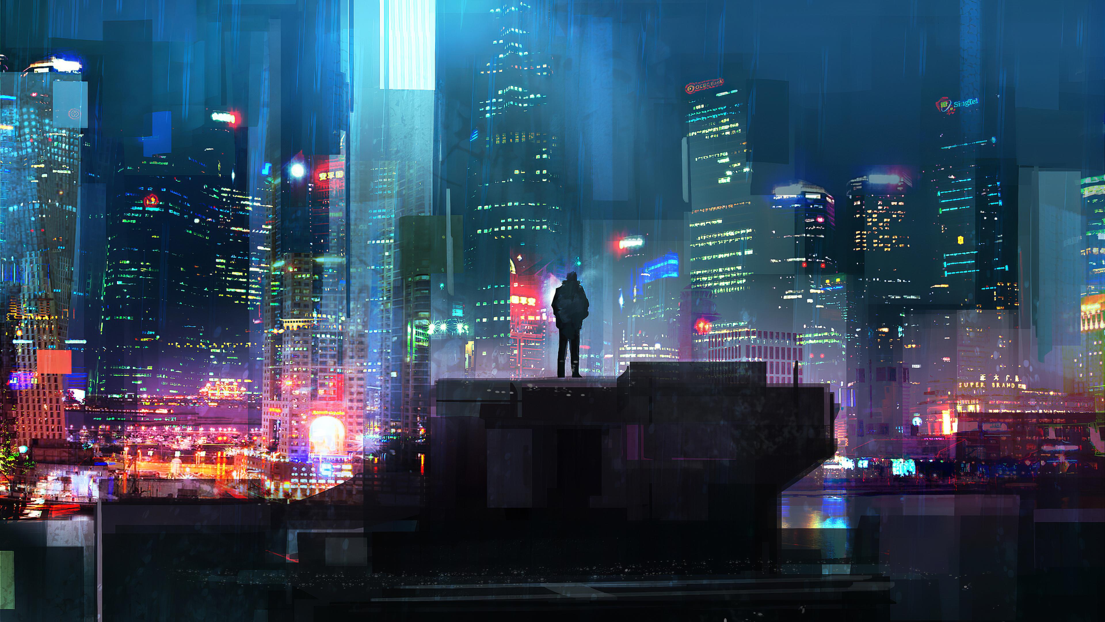 Alone Cyberpunk Boy in City Wallpaper, HD Artist 4K ...
