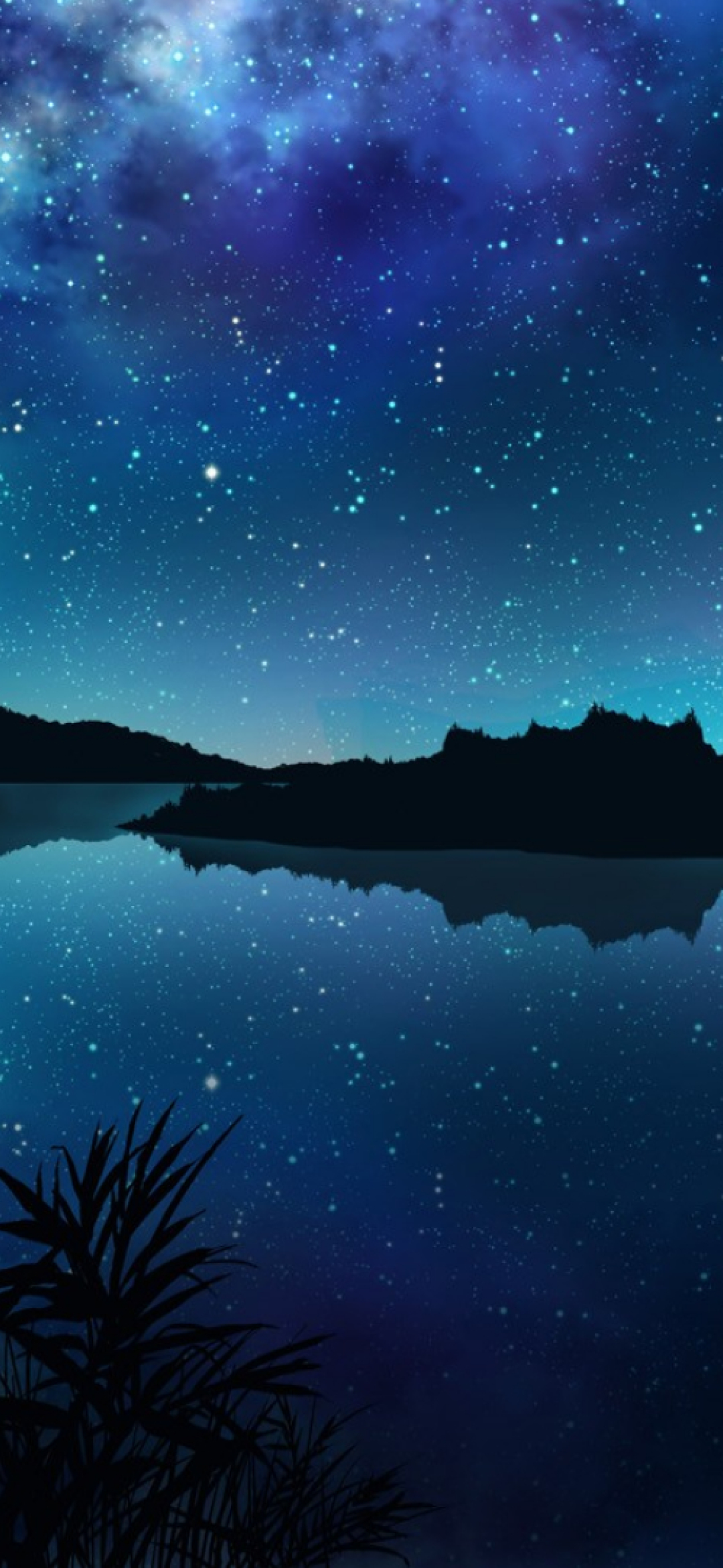 1080x2340 Amazing Starry Night Over Mountains and River ...