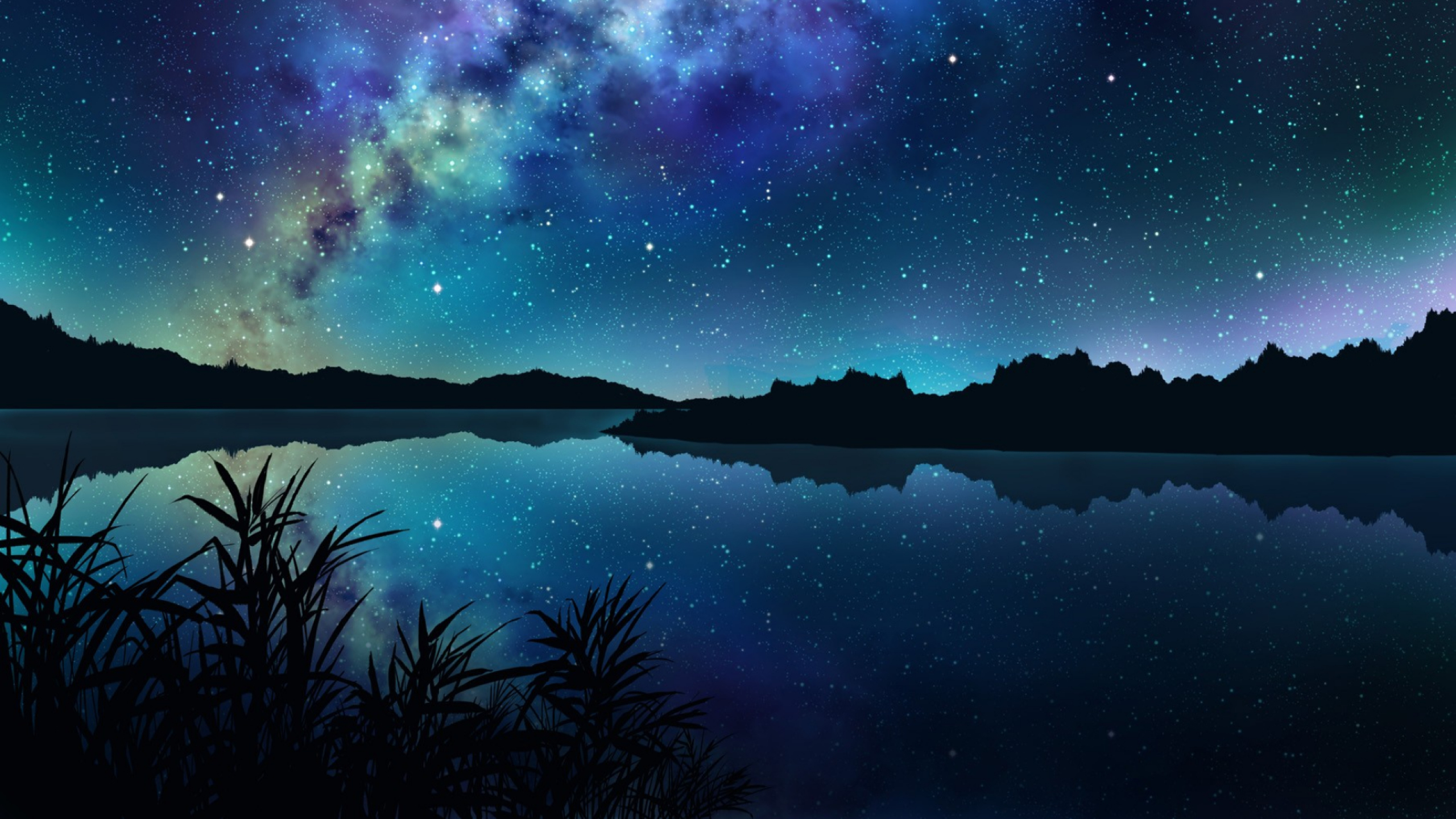 2560x1440 Amazing Starry Night Over Mountains and River ...