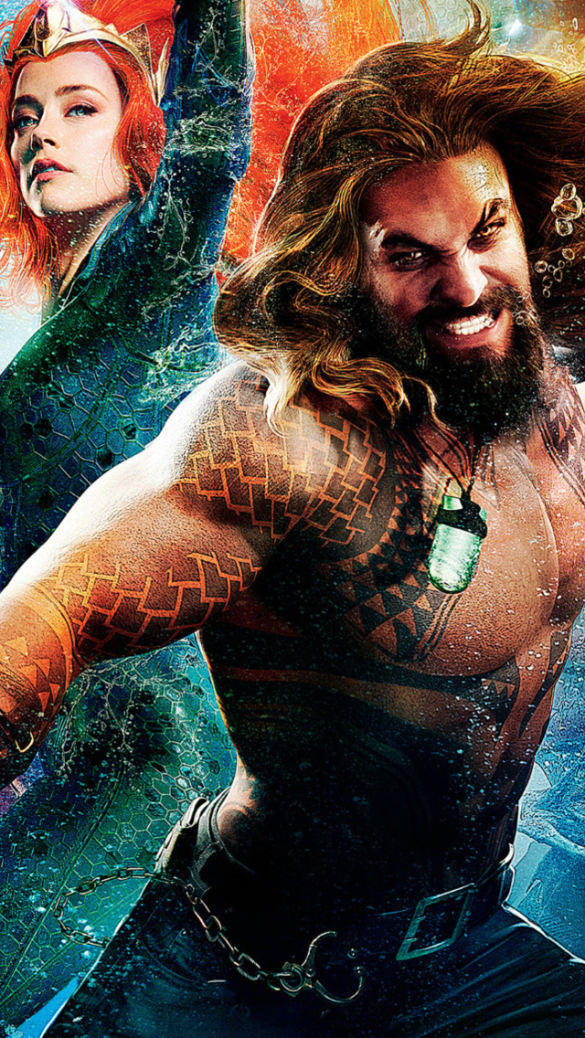 640x1136 Amber Heard As Mera And Jason Momoa As Aquaman Iphone 5 5c