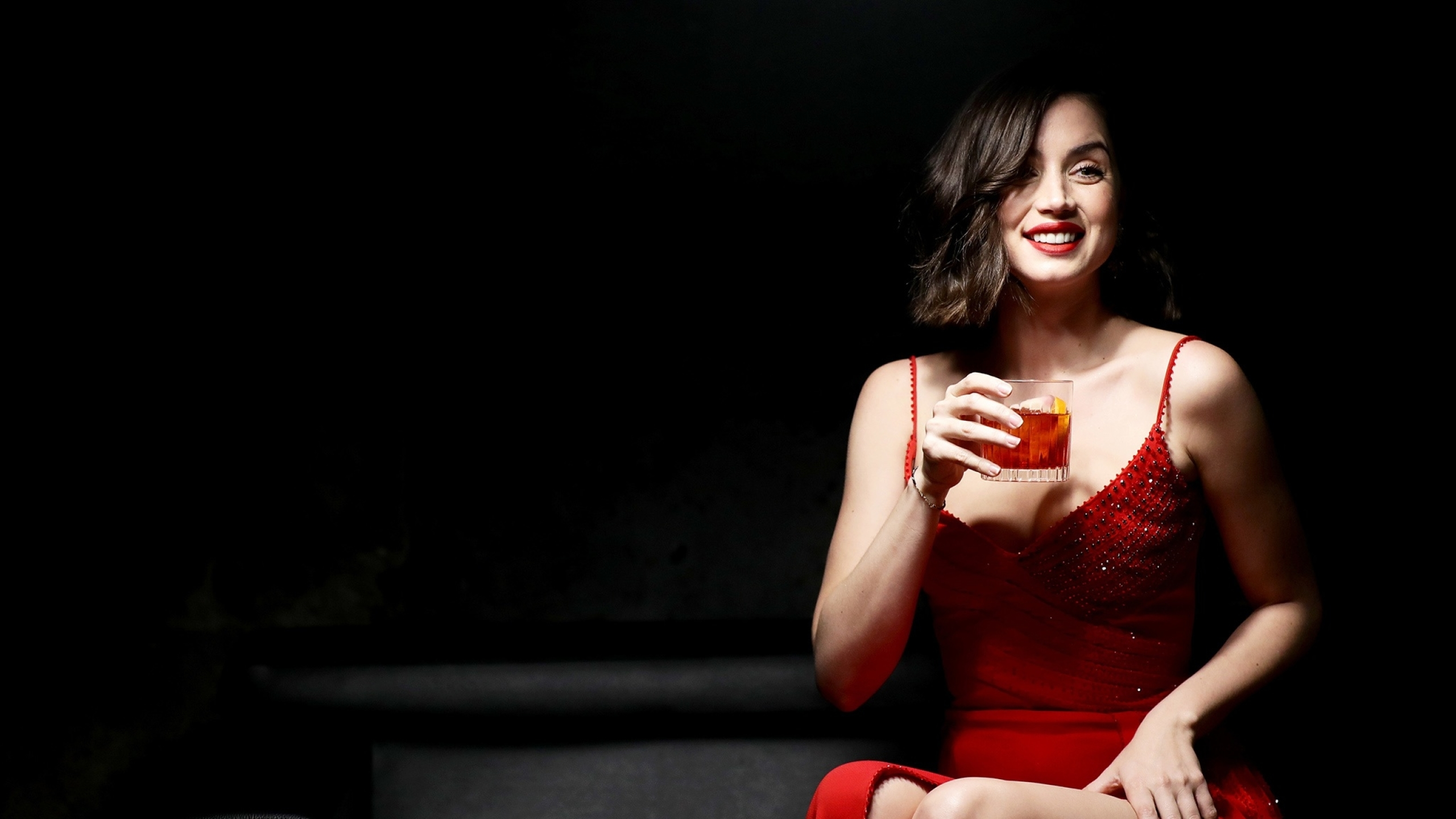 2560x1440 Ana De Armas In Red Dress 1440p Resolution Wallpaper Hd