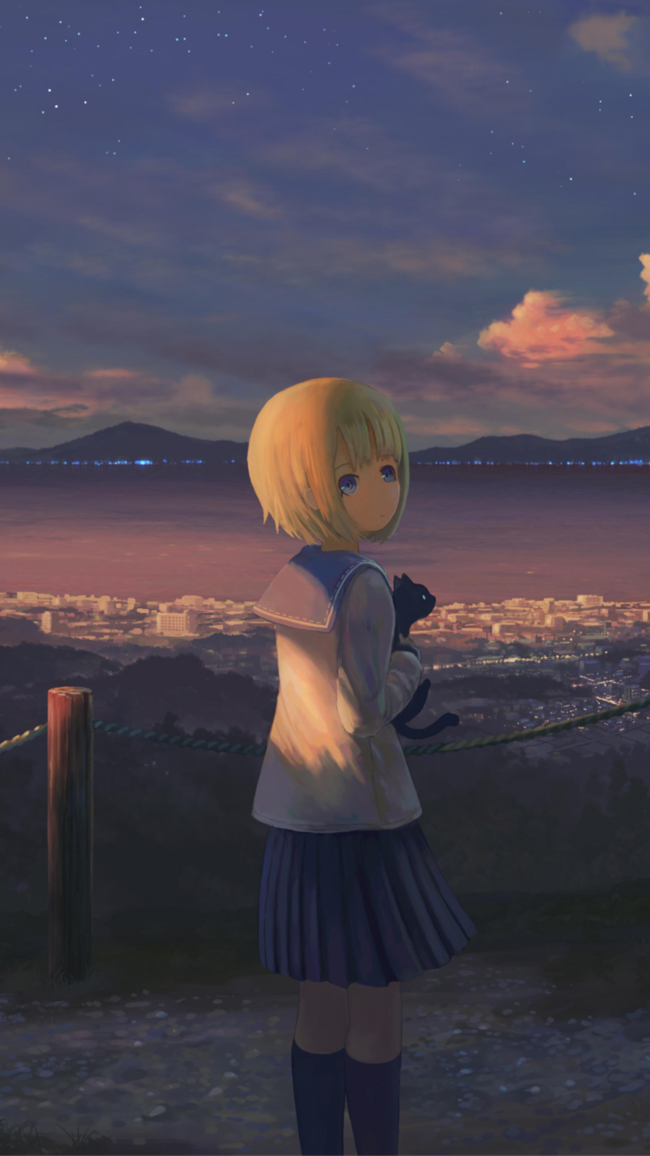 Alone Cartoon Girl 2160x3840 anime girl alone standing sony xperia x,xz,z5