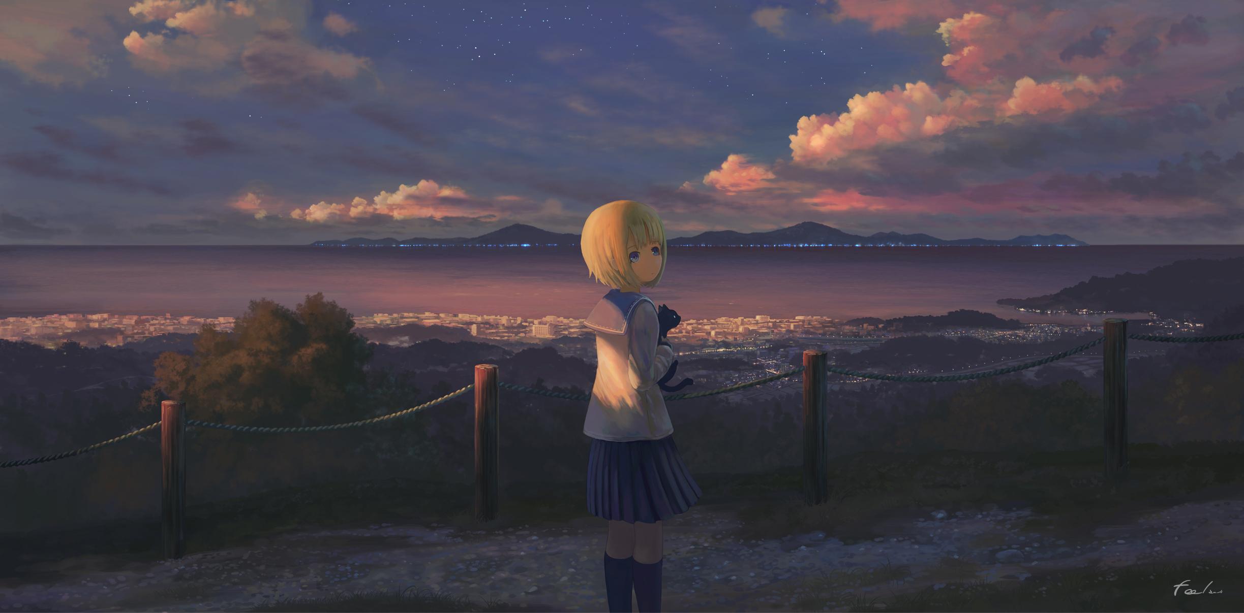 Anime Girl Alone Standing, Full Hd 2K Wallpaper-8810