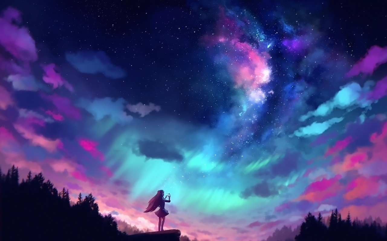 Anime Girl And Colorful Sky, Full HD Wallpaper