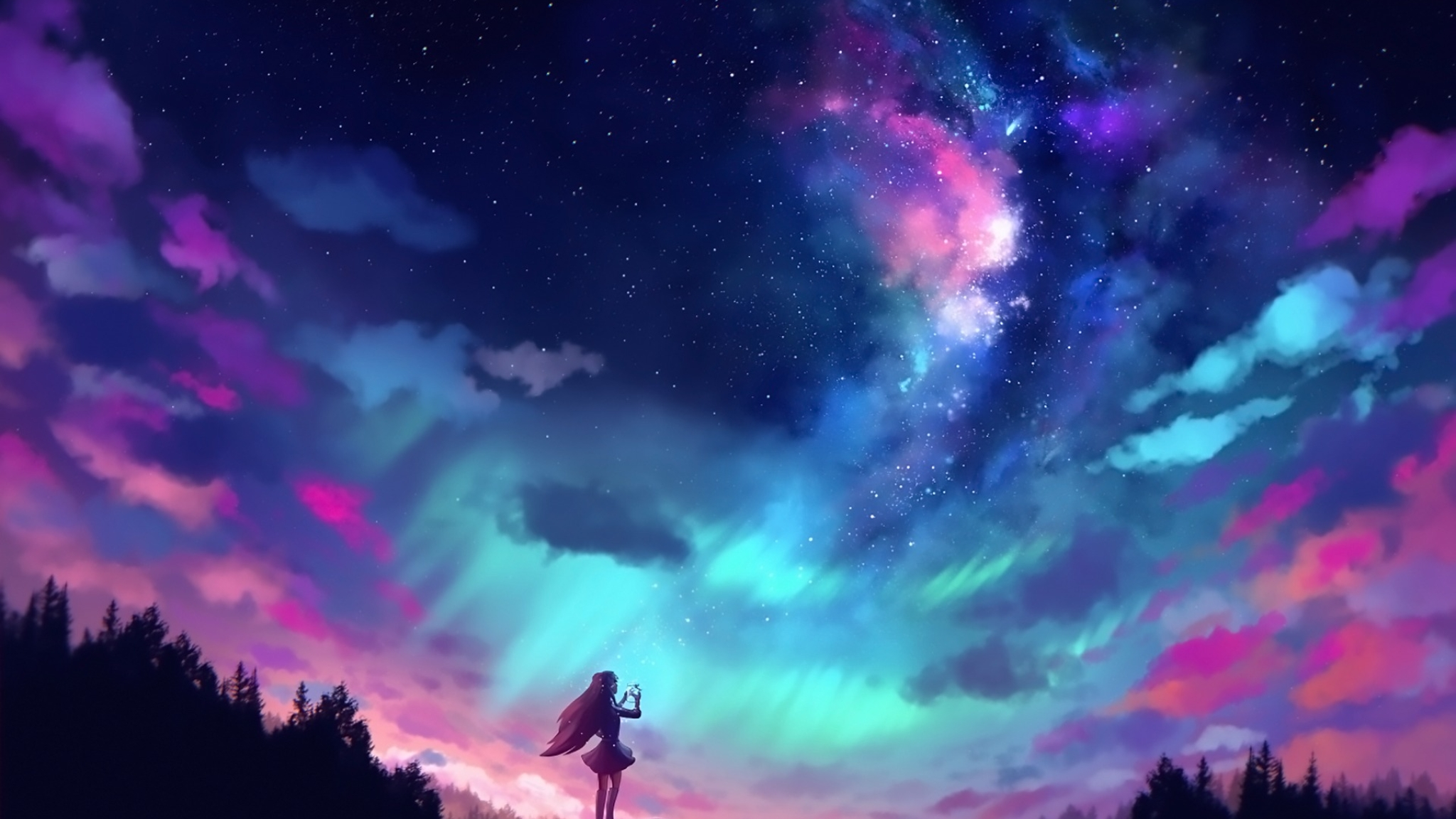 anime girl and colorful sky full hd wallpaper