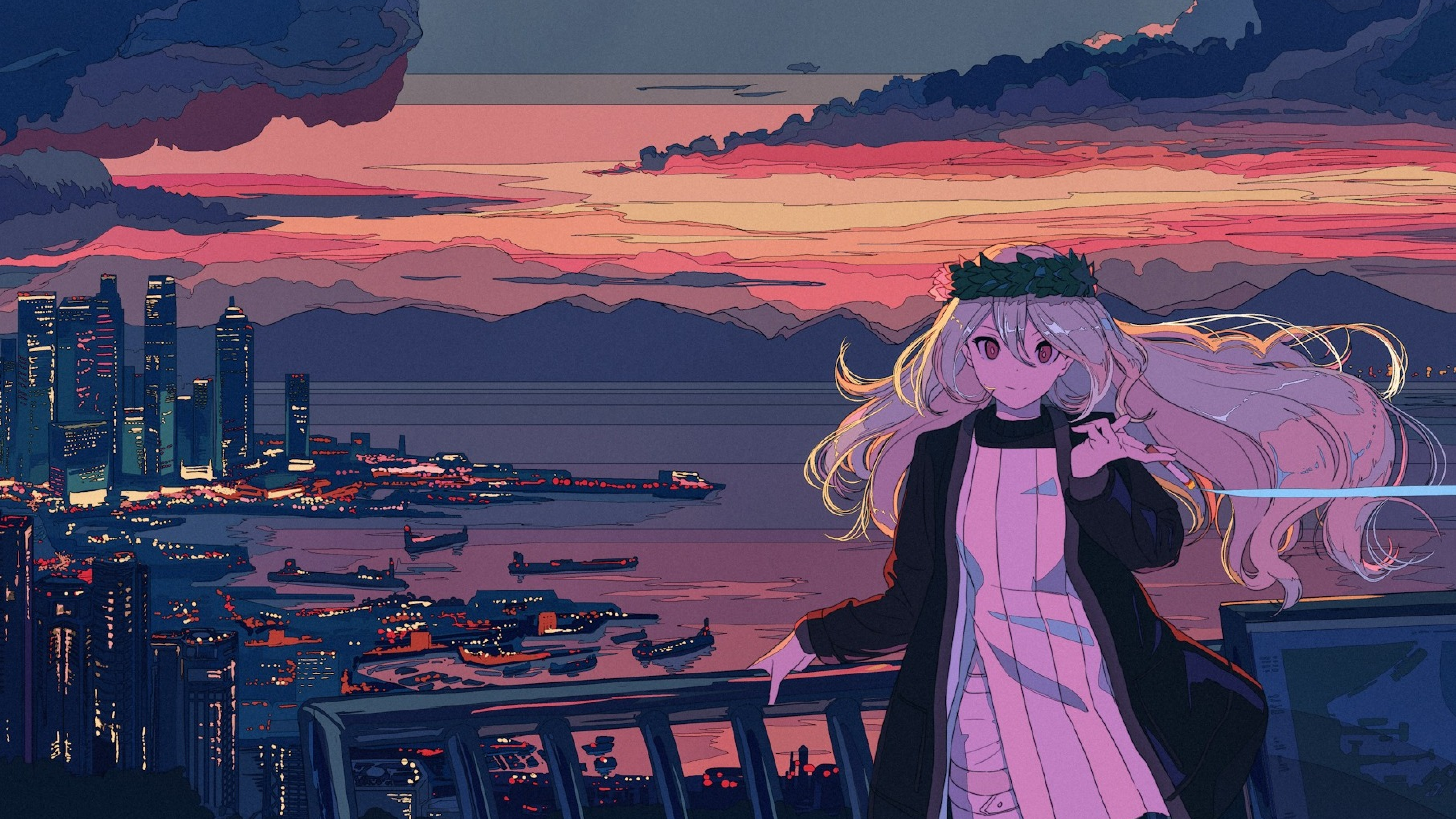 Anime Girl In Balcony Cityscape Sea And Sunset Full Hd