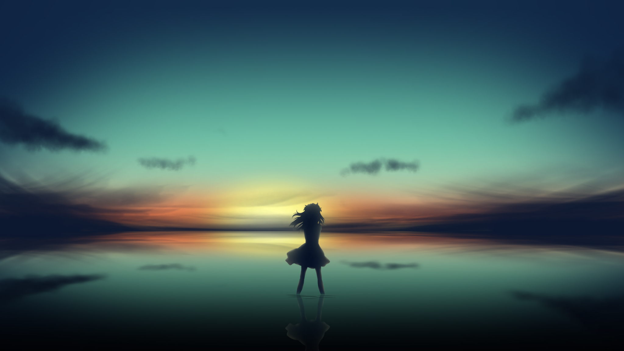 2048x1152 Anime Girl In Clear Sunset 2048x1152 Resolution ...