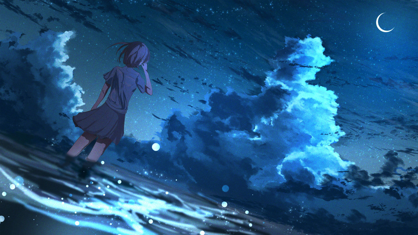 1366x768 Anime Girl In Half Moon Night 4k 1366x768 Resolution Wallpaper Hd Anime 4k Wallpapers Images Photos And Background