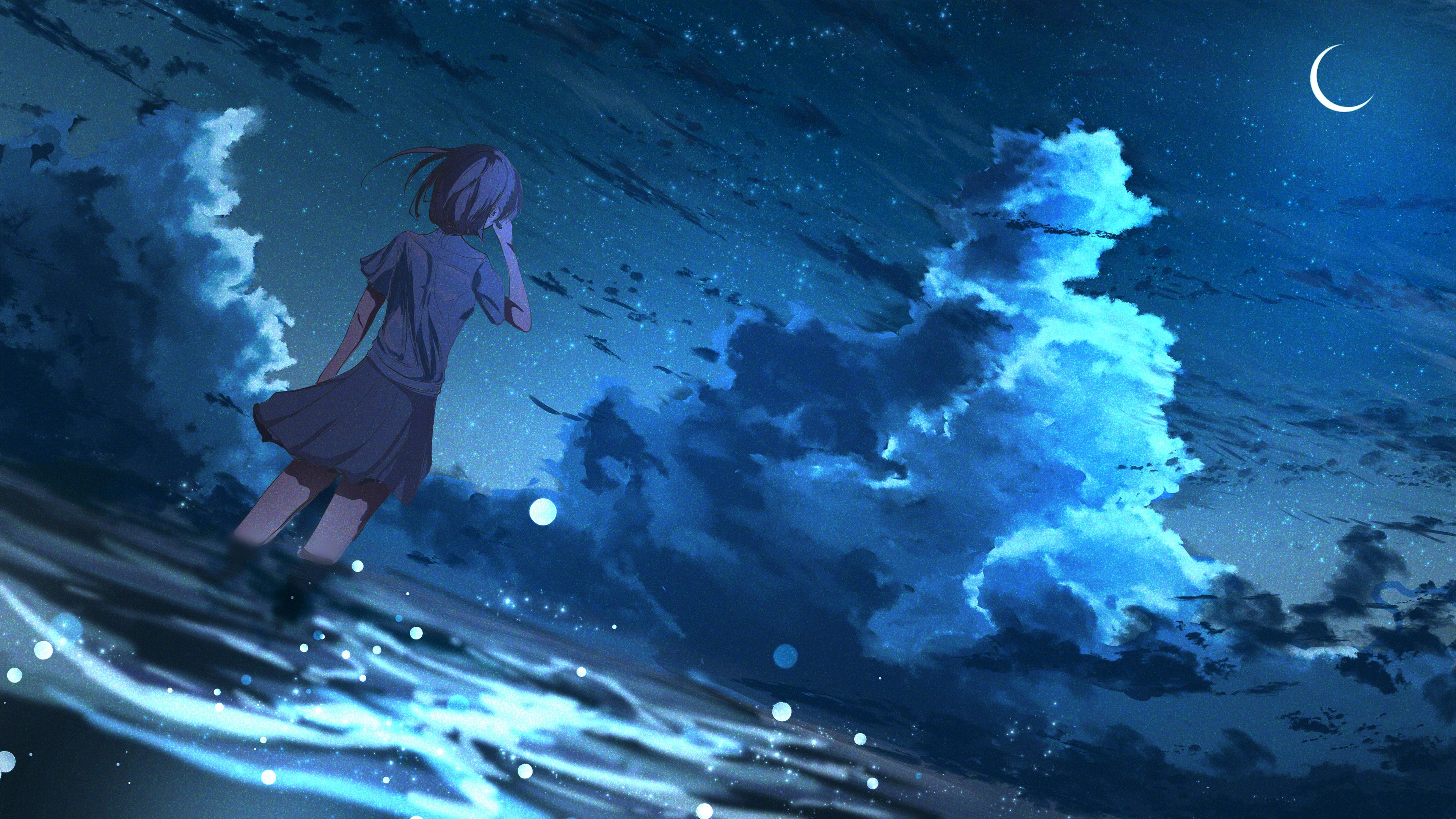 9x9 Anime Girl in Half Moon Night 9K 9K Wallpaper, HD Anime
