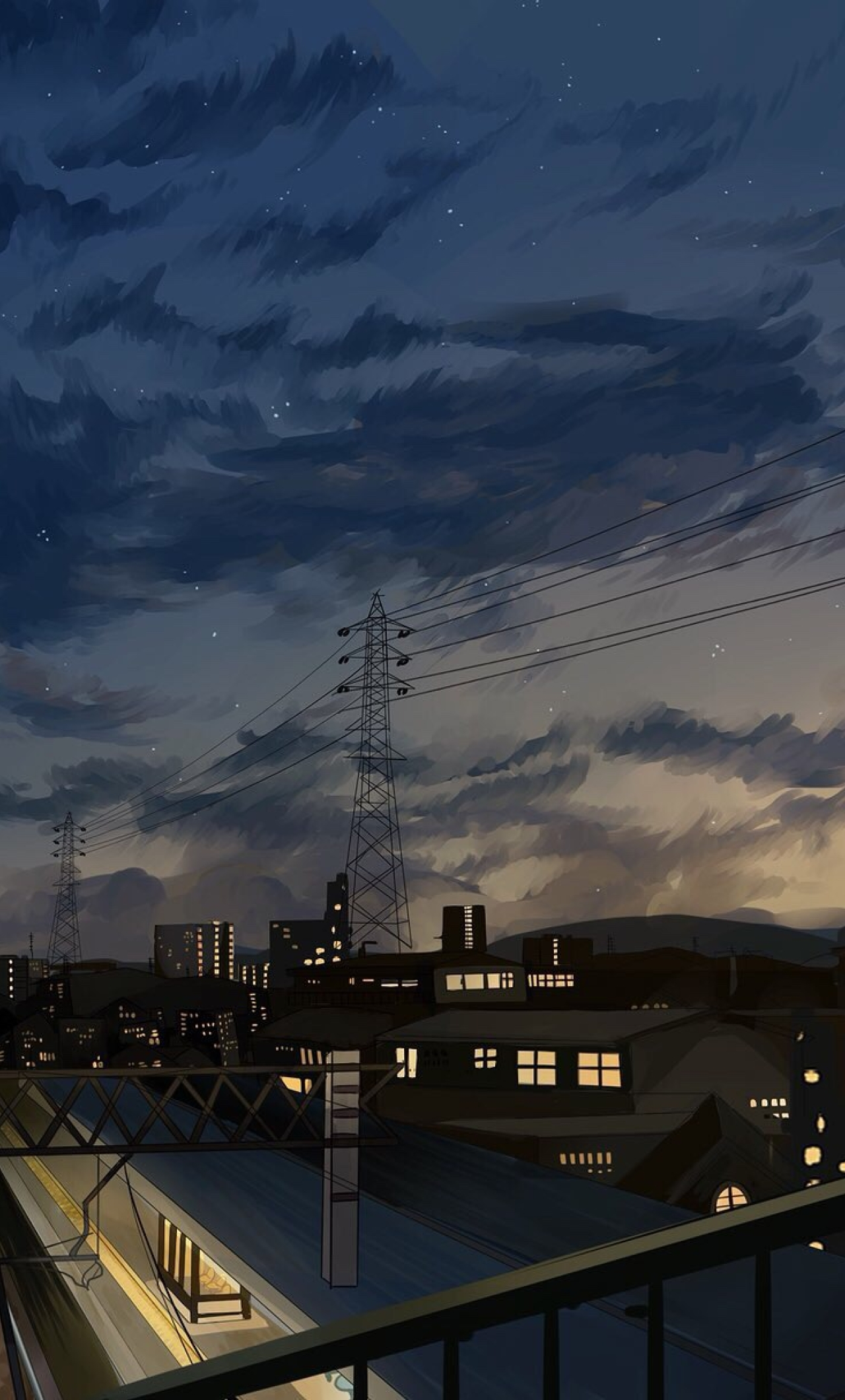 1280x2120 Anime Girl In School Uniform Watching City Sky