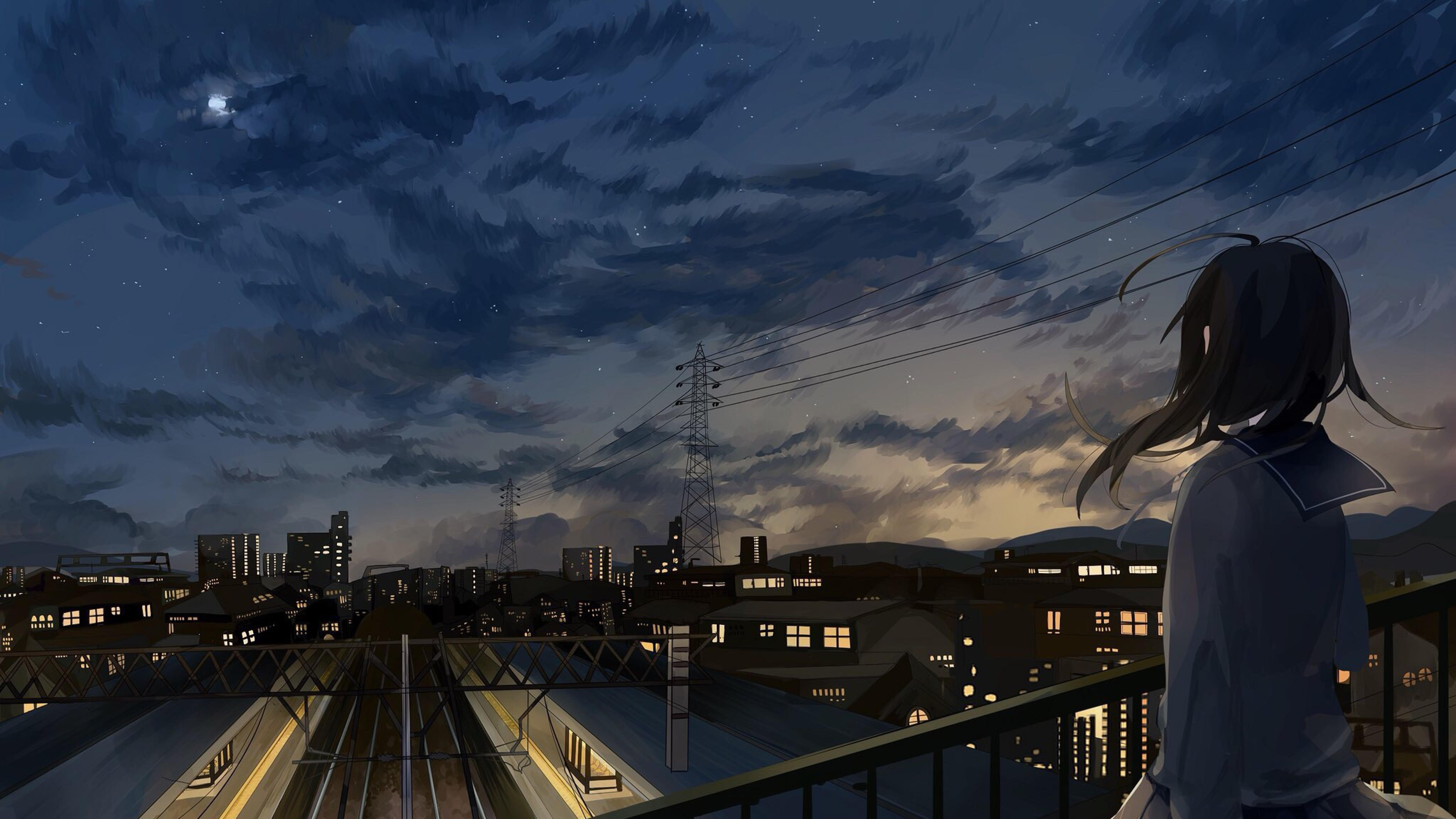 Anime girl in school uniform watching city sky full hd 2k - Anime scenery wallpaper laptop ...