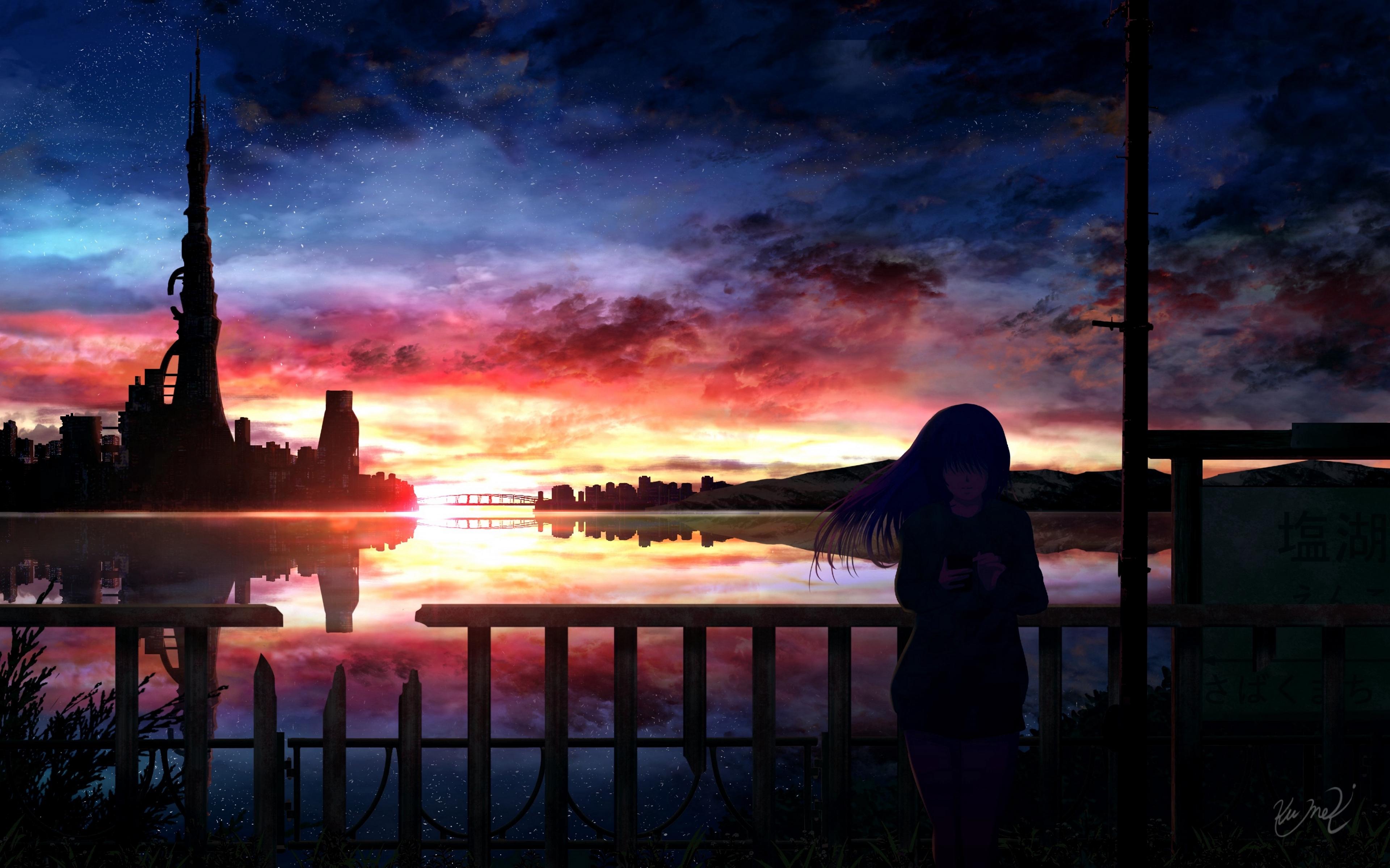 1366x768 Anime Girl In Sunset 1366x768 Resolution Wallpaper