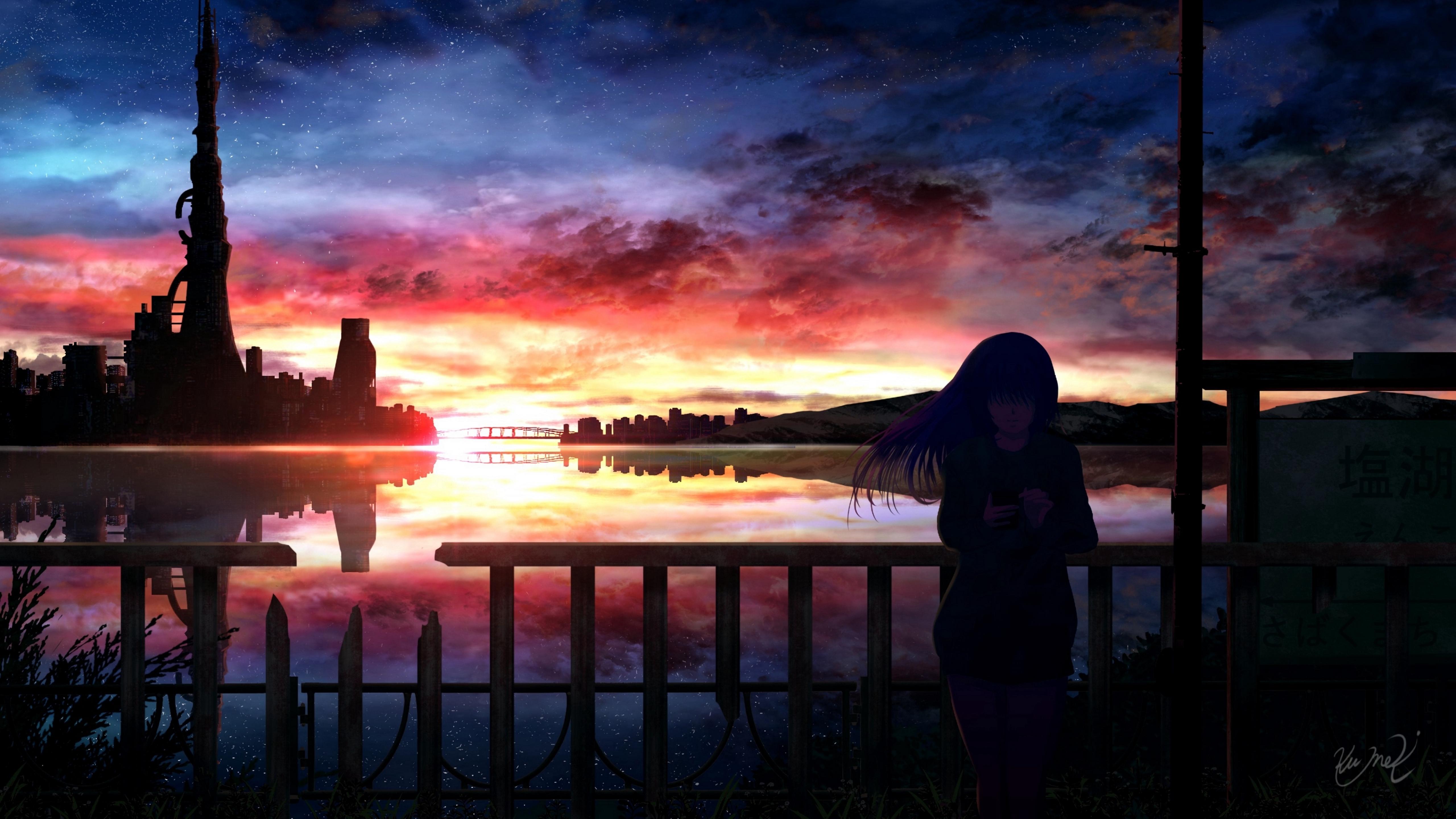 5120x2880 Anime Girl In Sunset 5k Wallpaper Hd Anime 4k