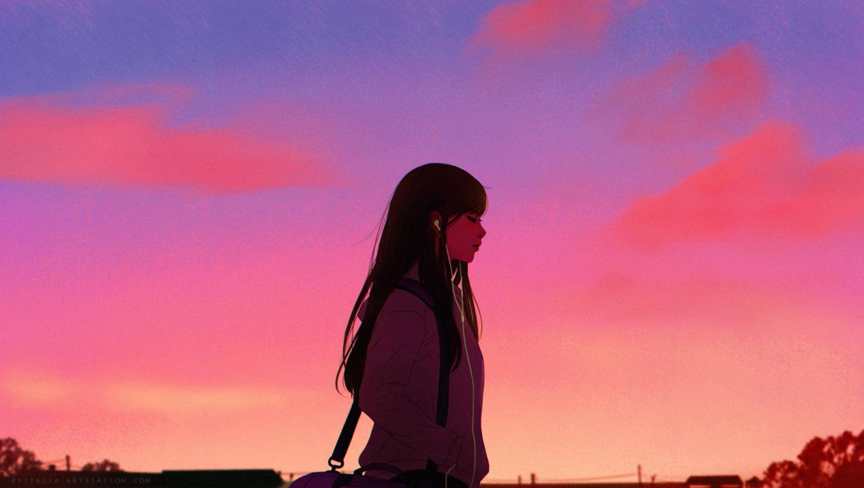 1360x768 Anime Girl Listening Music Desktop Laptop HD ...