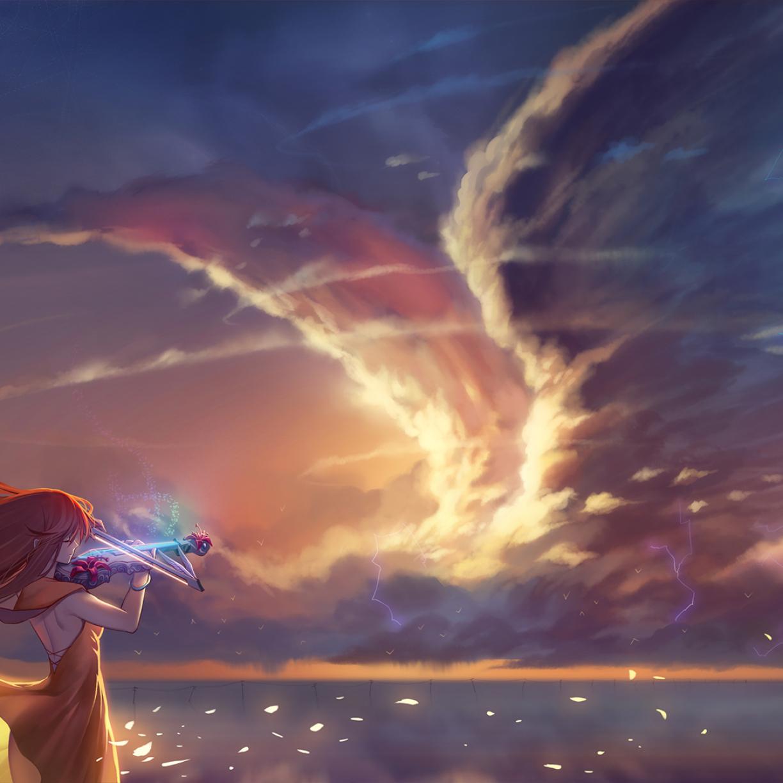 Anime Girl Wallpaper Download: Anime Girl Playing Violin, HD 4K Wallpaper