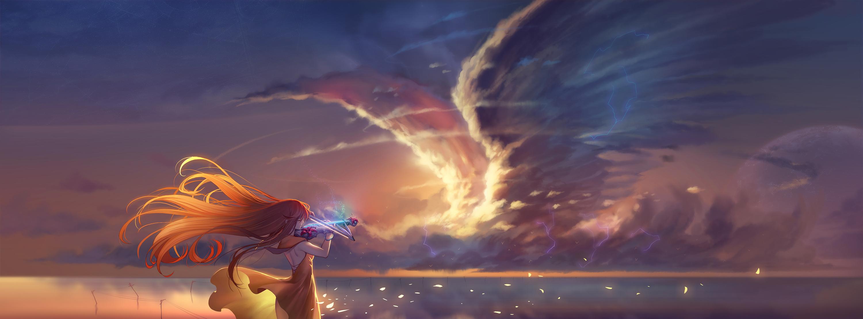 Anime Girl Playing Violin, HD 4K Wallpaper