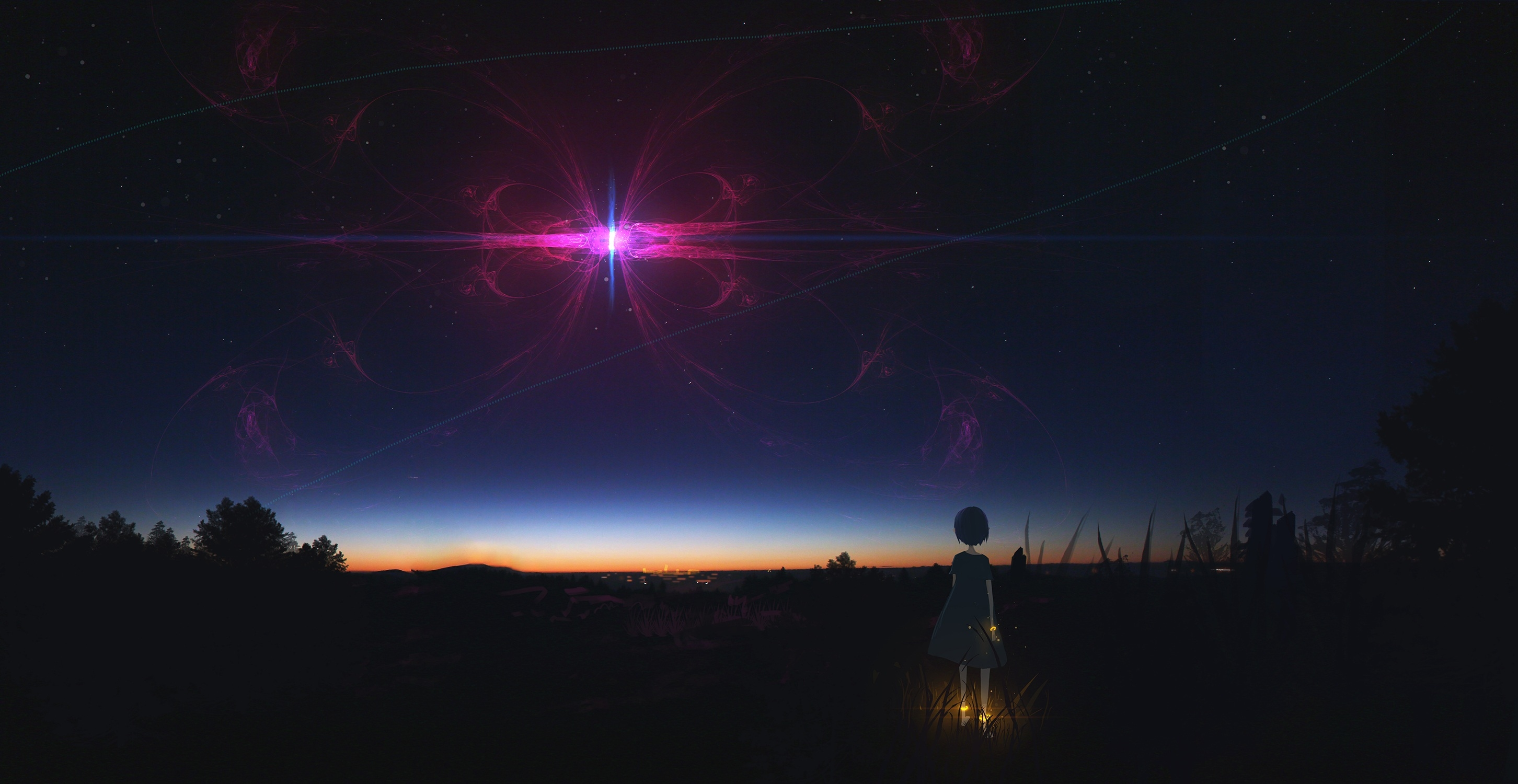 1336x768 Anime Girl Staring At Night Sky Hd Laptop Wallpaper