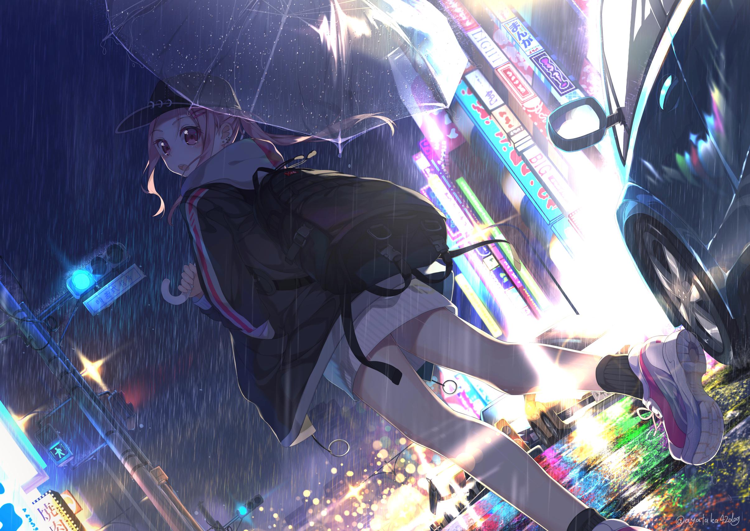 1920x1080 Anime Girl with Umbrella In Rain 1080P Laptop ...