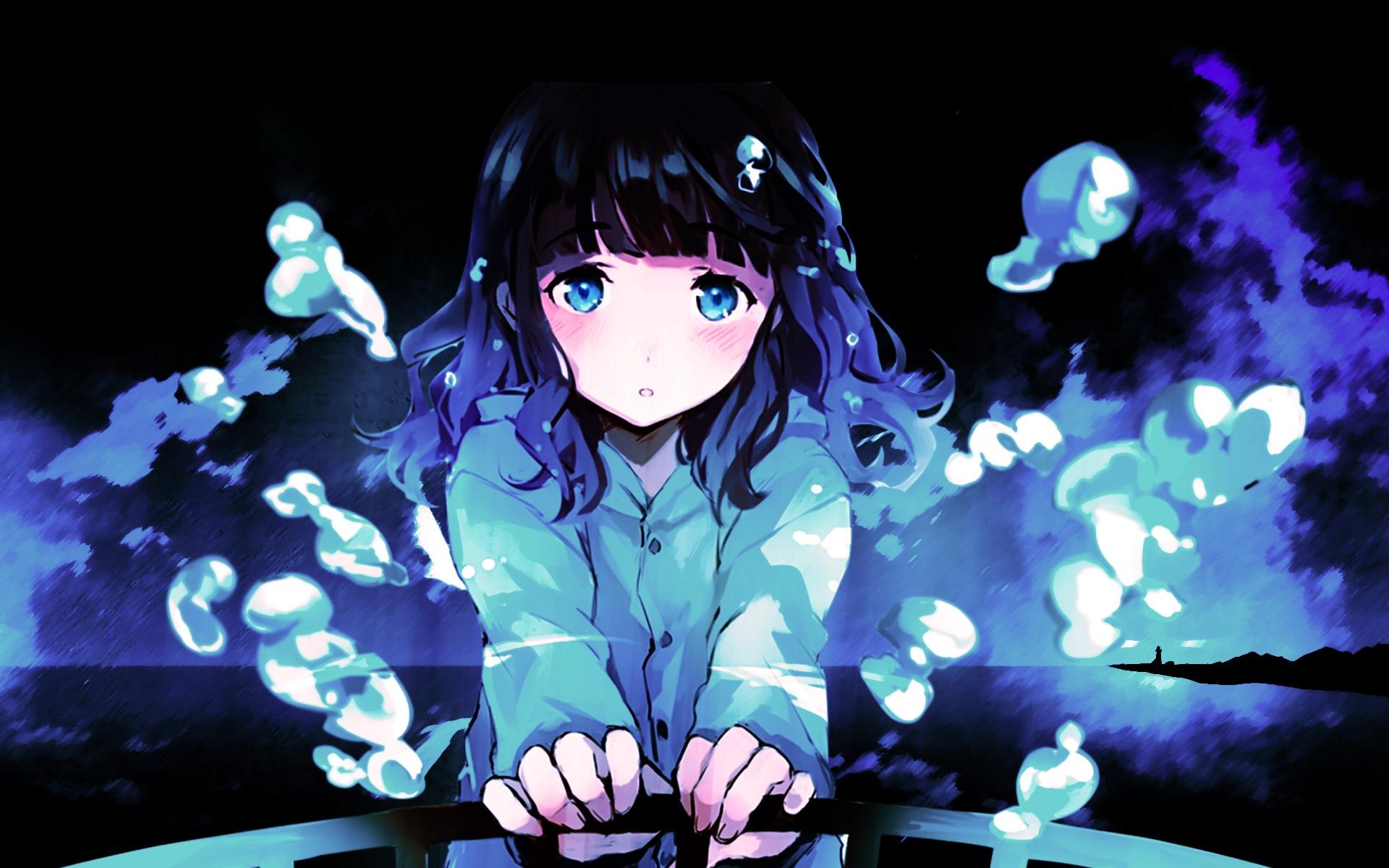 Anime Sad Girl, Full HD Wallpaper