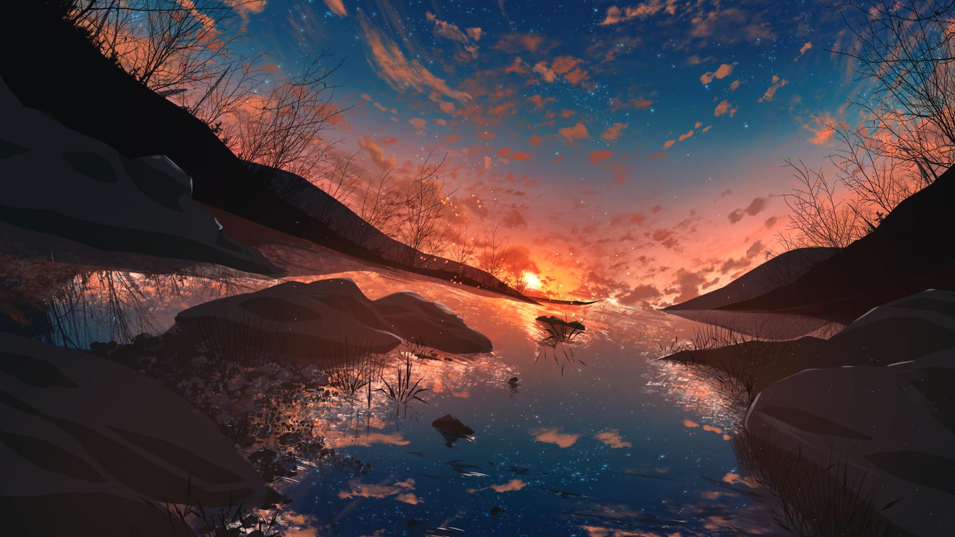 3840x2400 Anime Sunset Original Art UHD 4K 3840x2400 ...