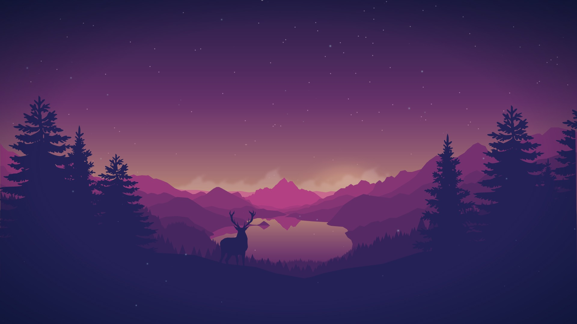 Great Wallpaper Forest Deer - artistic-forest-mountains-lake-and-deer_60635_1920x1080  Perfect Image Reference_951126 .jpg
