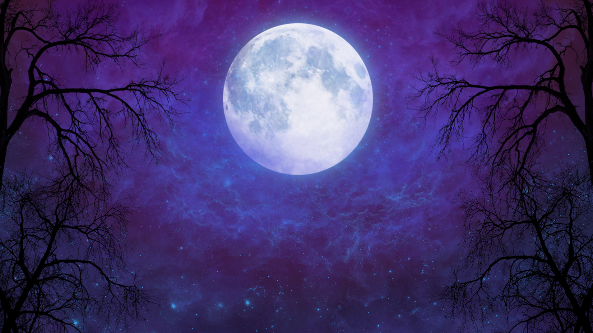Artistic Full Moon In Starry Night Sky Full Hd Wallpaper