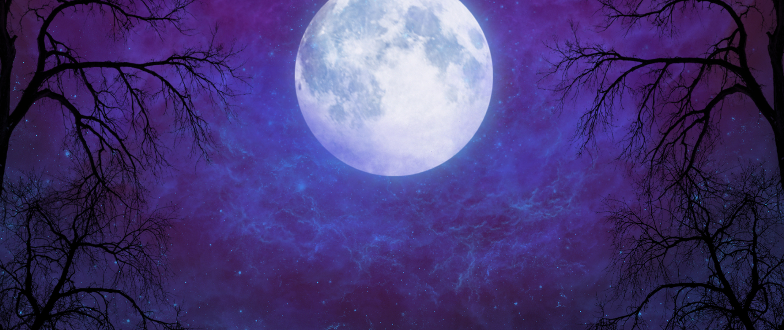Artistic Full Moon In Starry Night Sky, Full HD Wallpaper