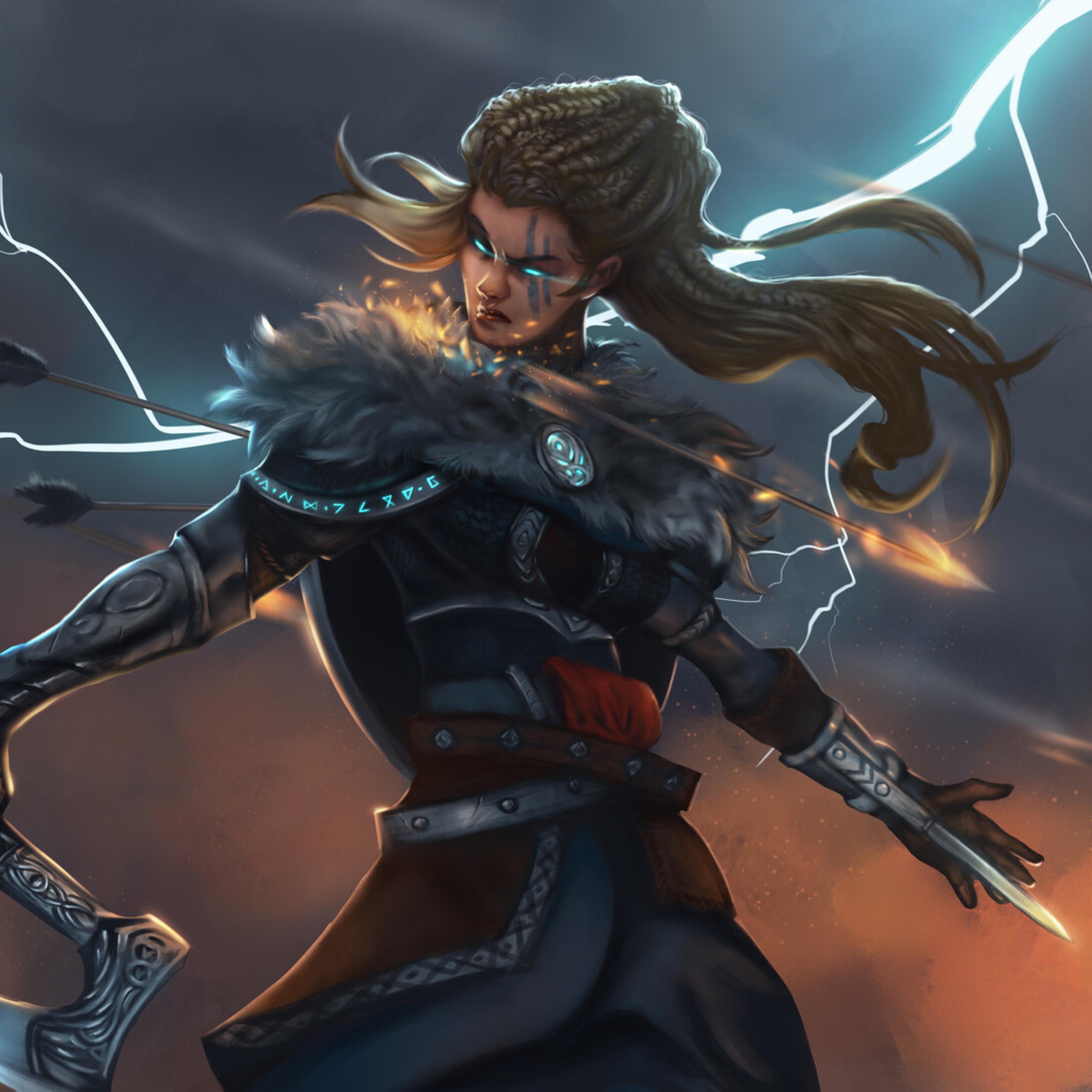 2932x2932 Assassin S Creed Valhalla Woman Warrior Ipad Pro Retina