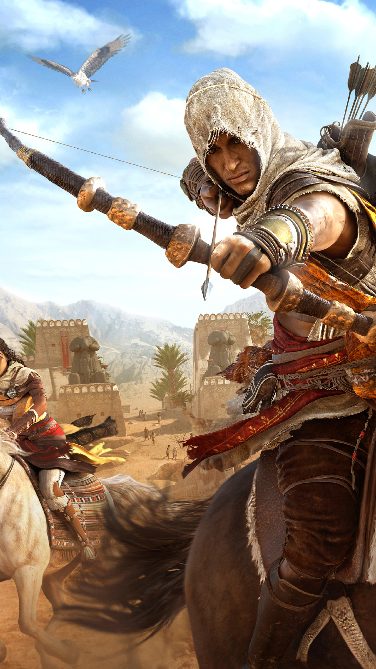 1440x2560 Assassins Creed Origins Bayek And Aya Samsung Galaxy S6 S7