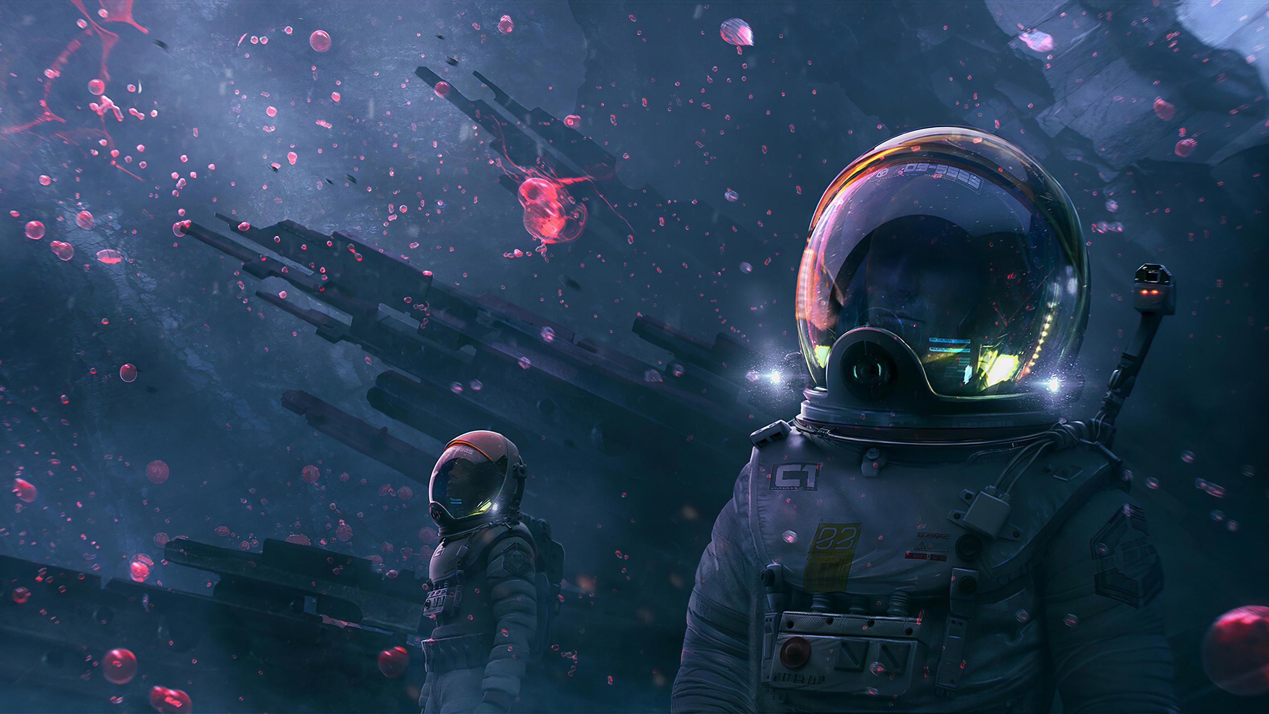 2560x1440 Astronaut Digital Art 1440p Resolution Wallpaper Hd Artist 4k Wallpapers Images Photos And Background