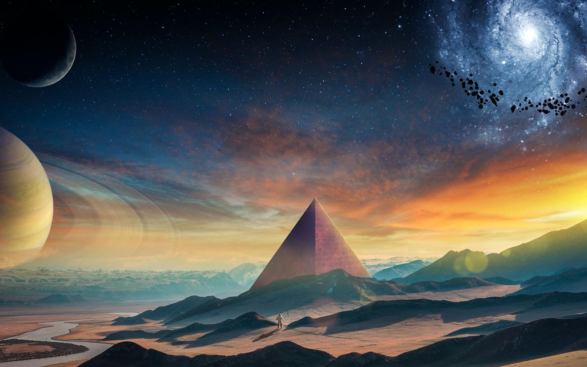 Astronaut Galaxy Pyramid, Full HD Wallpaper