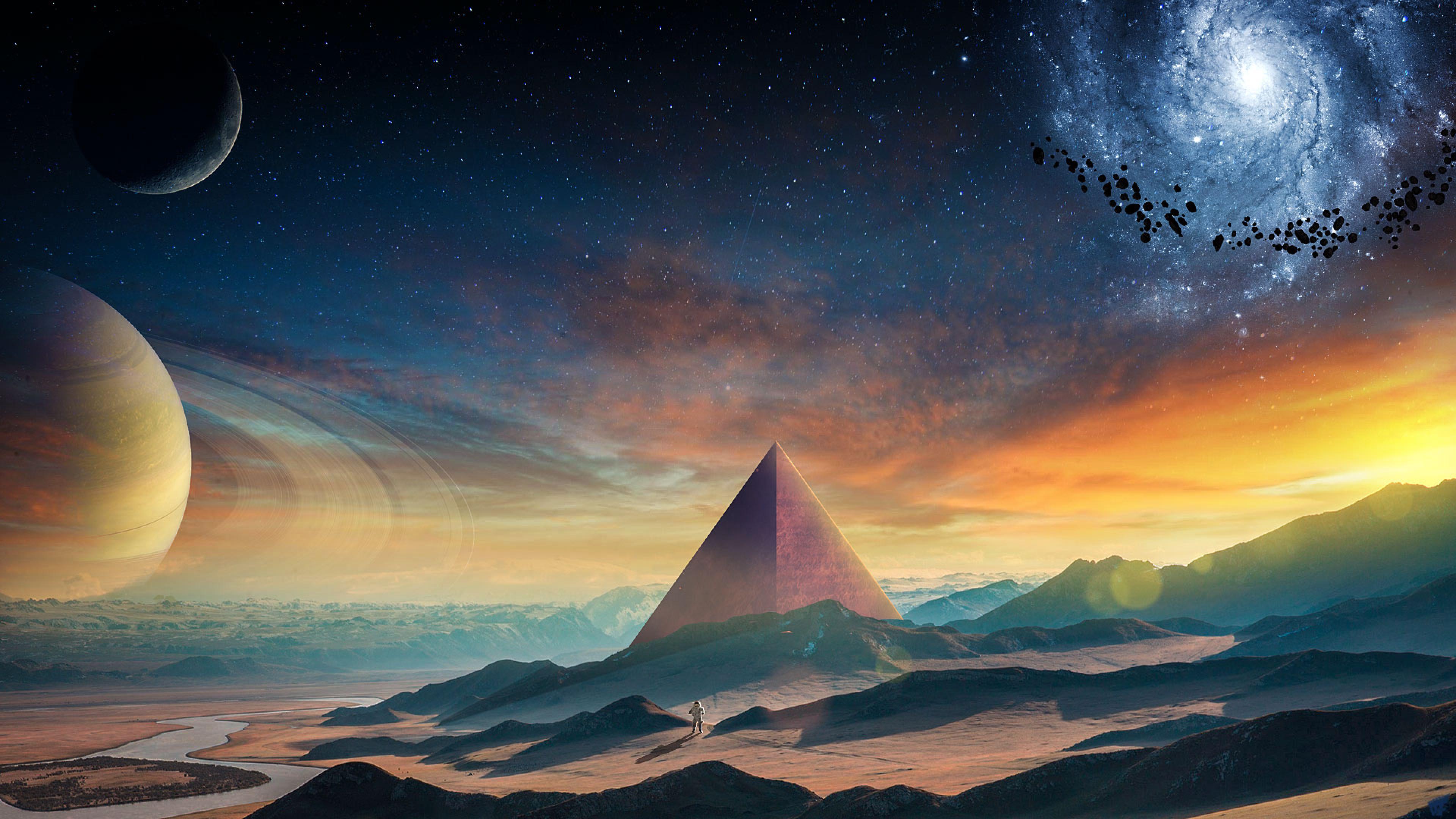3840x2160 Astronaut Galaxy Pyramid 4k Wallpaper Hd Artist