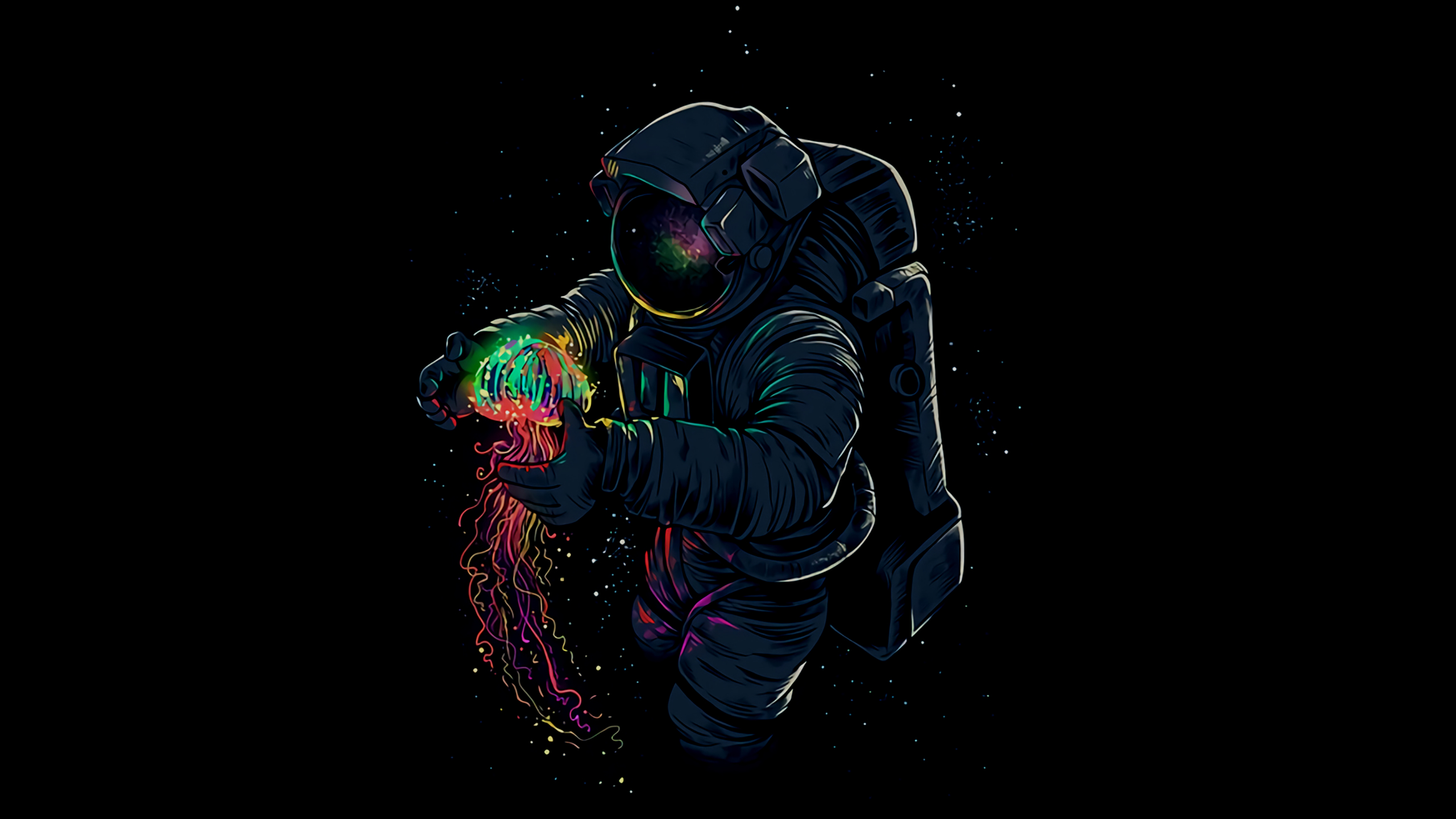 Astronaut with jellyfish wallpaper hd artist 4k for Sfondi 2560x1440