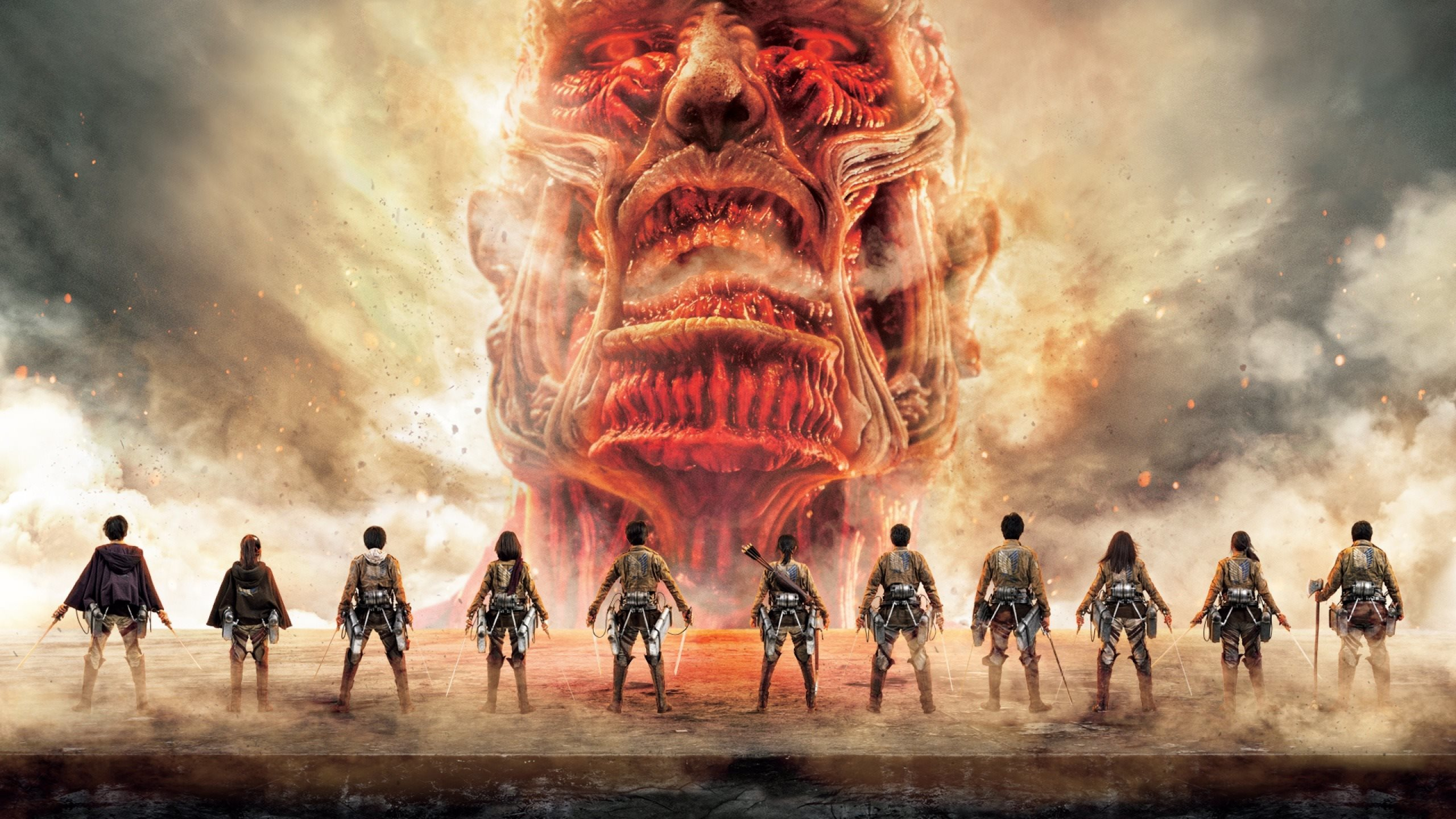 2560x1440 Attack On Titan Japanese Tv Series Poster 1440p