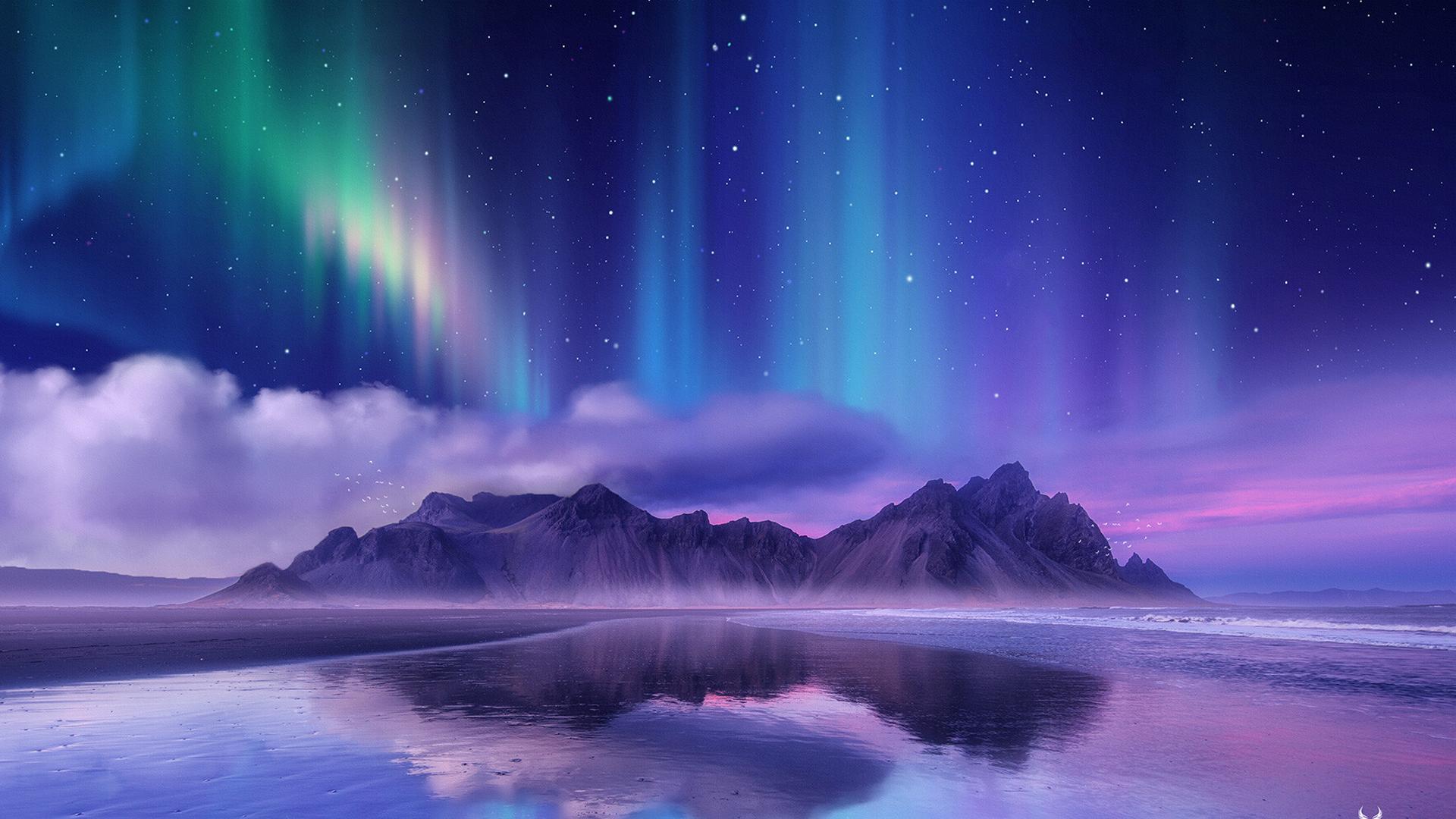 Aurora Borealis Near Sea Wallpaper, HD Nature 4K ...