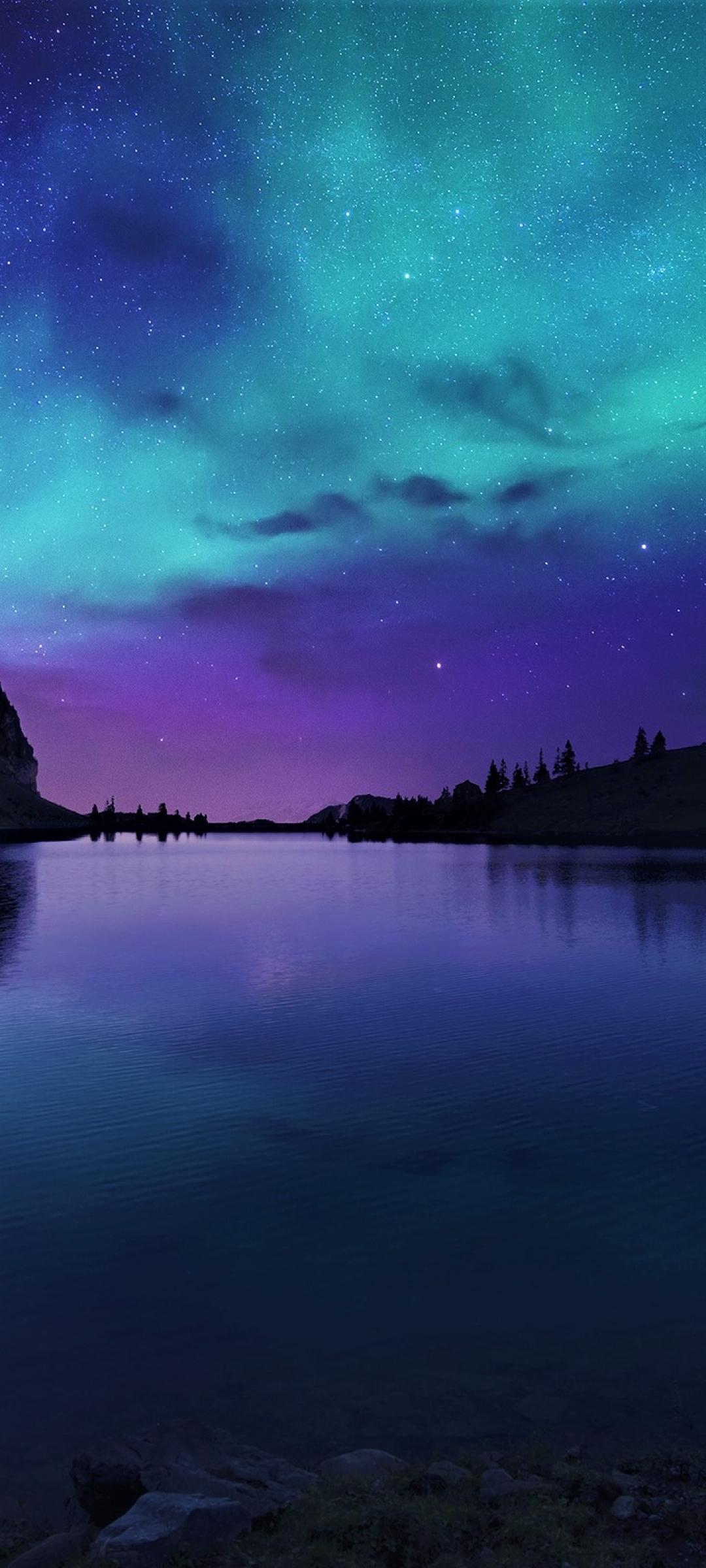 1080x2400 Aurora Borealis Northern Lights Over Mountain ...
