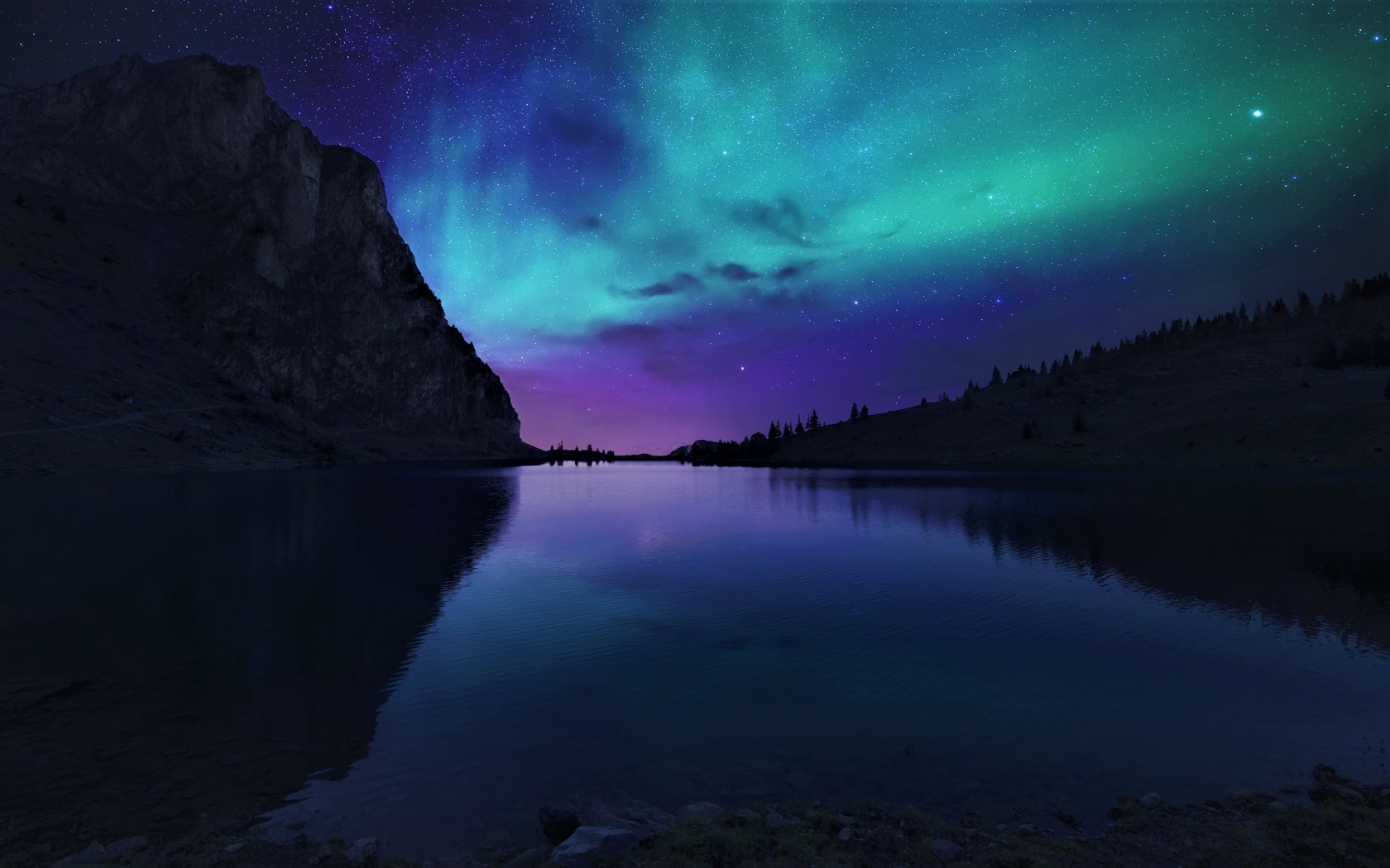 Aurora Borealis Northern Lights Over Mountain Lake  Full