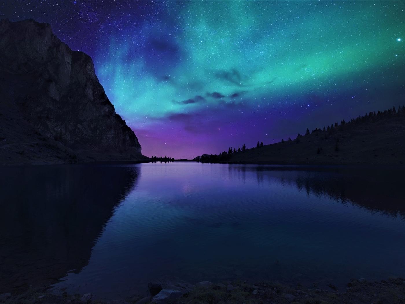 Aurora Borealis Northern Lights Over Mountain Lake  Full Hd 2k Wallpaper