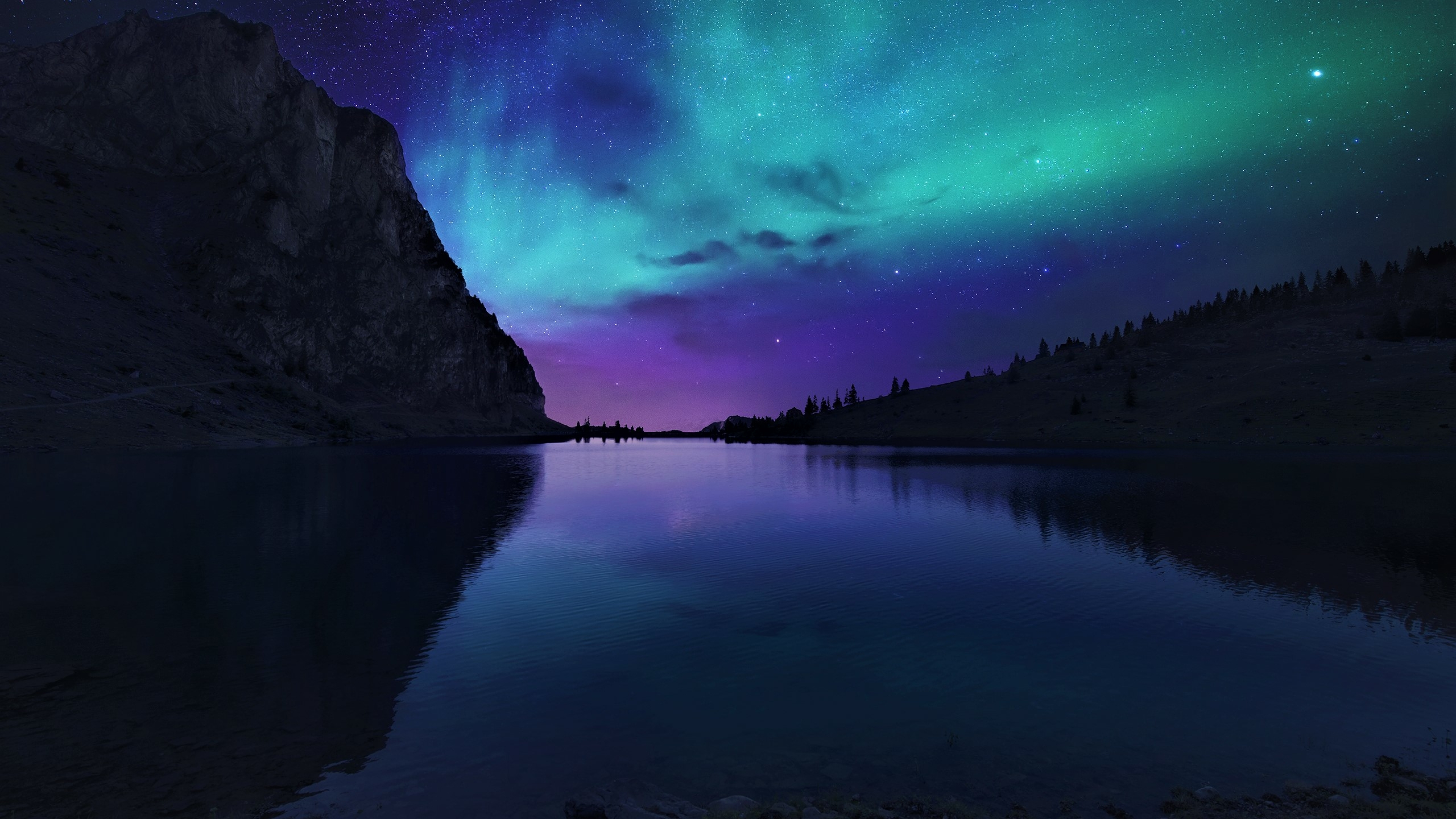 Aurora Borealis Northern Lights Over Mountain Lake, Full